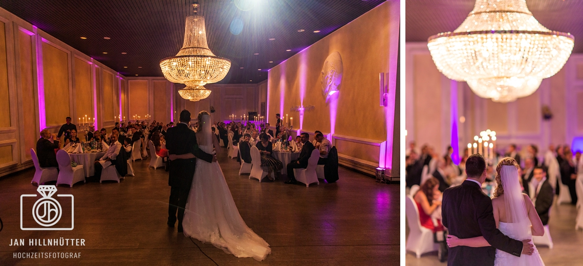 Hochzeit-Kupferbergterrasse-Mainz-Festsaal-Kronleuchter-Brautpaar