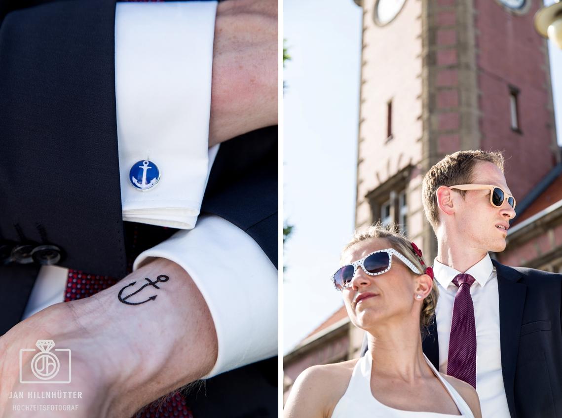 Brautpaar-Portrait-Schiffshochzeit-Anker-Manschettenknoepfe-Motto-Hochzeit-Dortmund