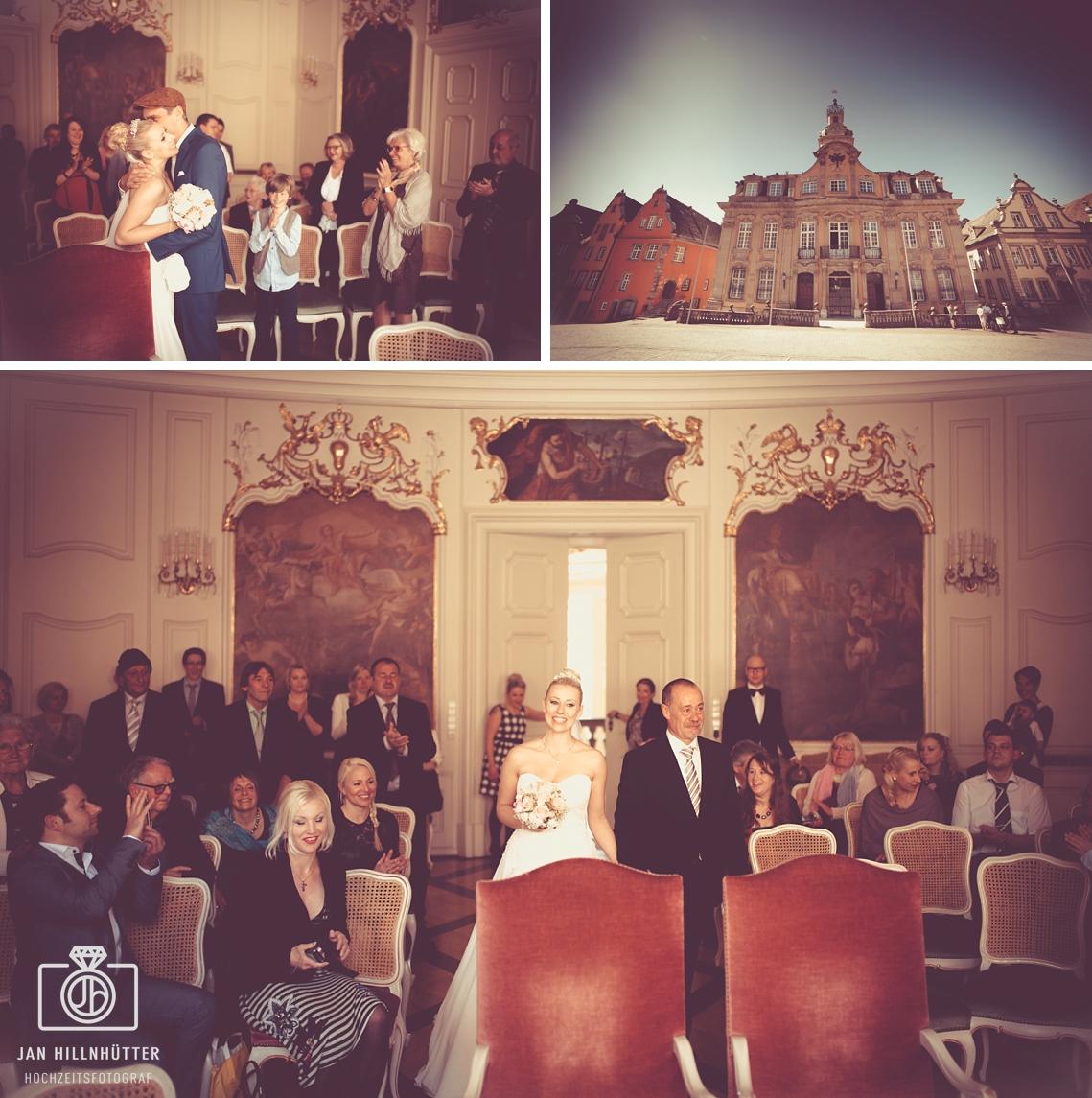Vintage-Hochzeitspaar-Schwaebisch-Hall-Trausaal-Rathaus-Marktplatz-Brautvater-Braut