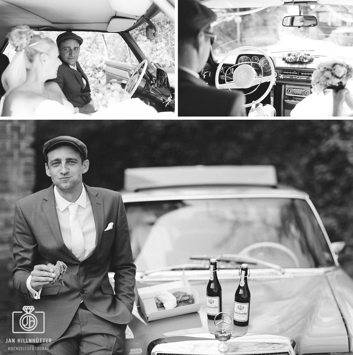 Vintage-SW-Hochzeitsfotos-alter-Mercedes-Vesper-Gaildorfer-Bier