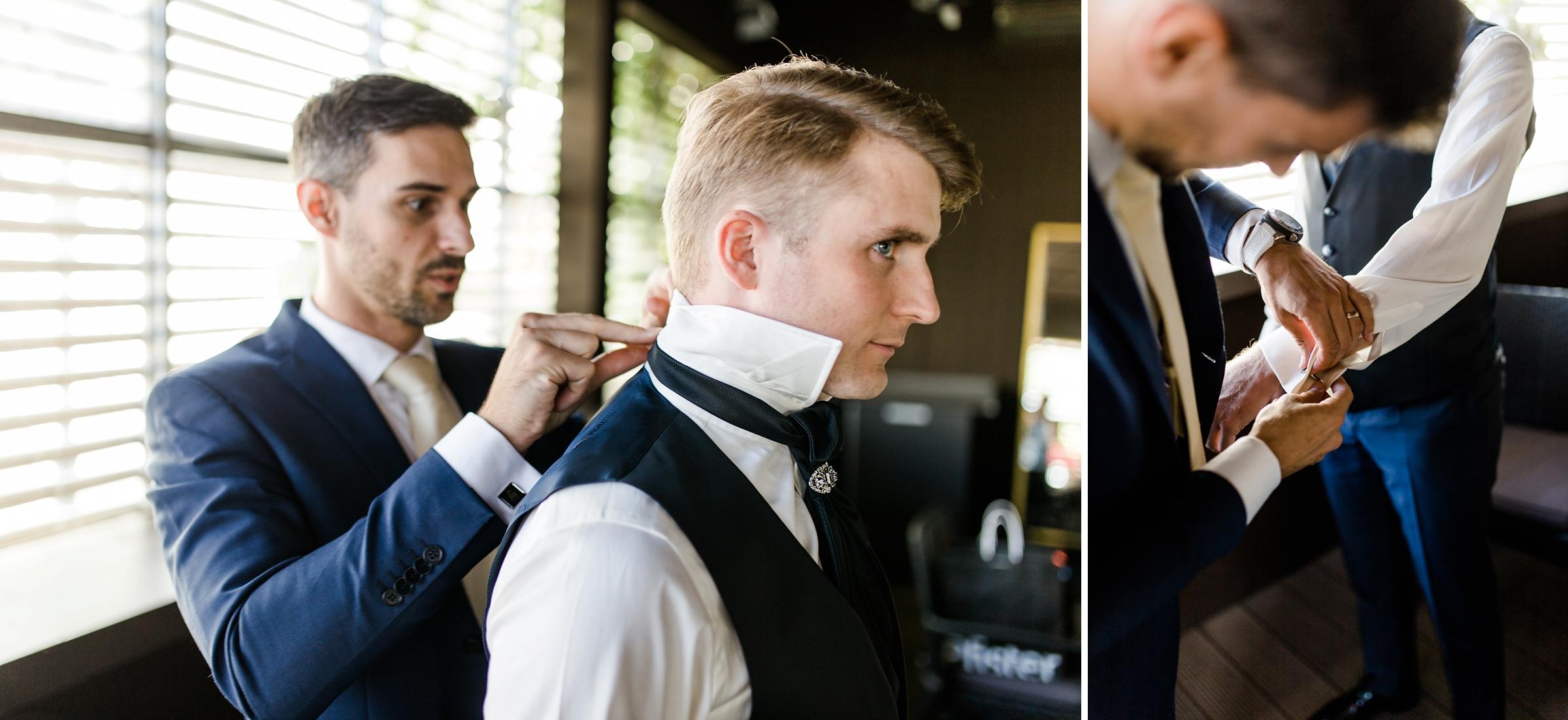 Hochzeitsreportage-Zuerich-Braeutigam-Getting-Ready-Trauzeuge-Giardino-Verde-Uitikon