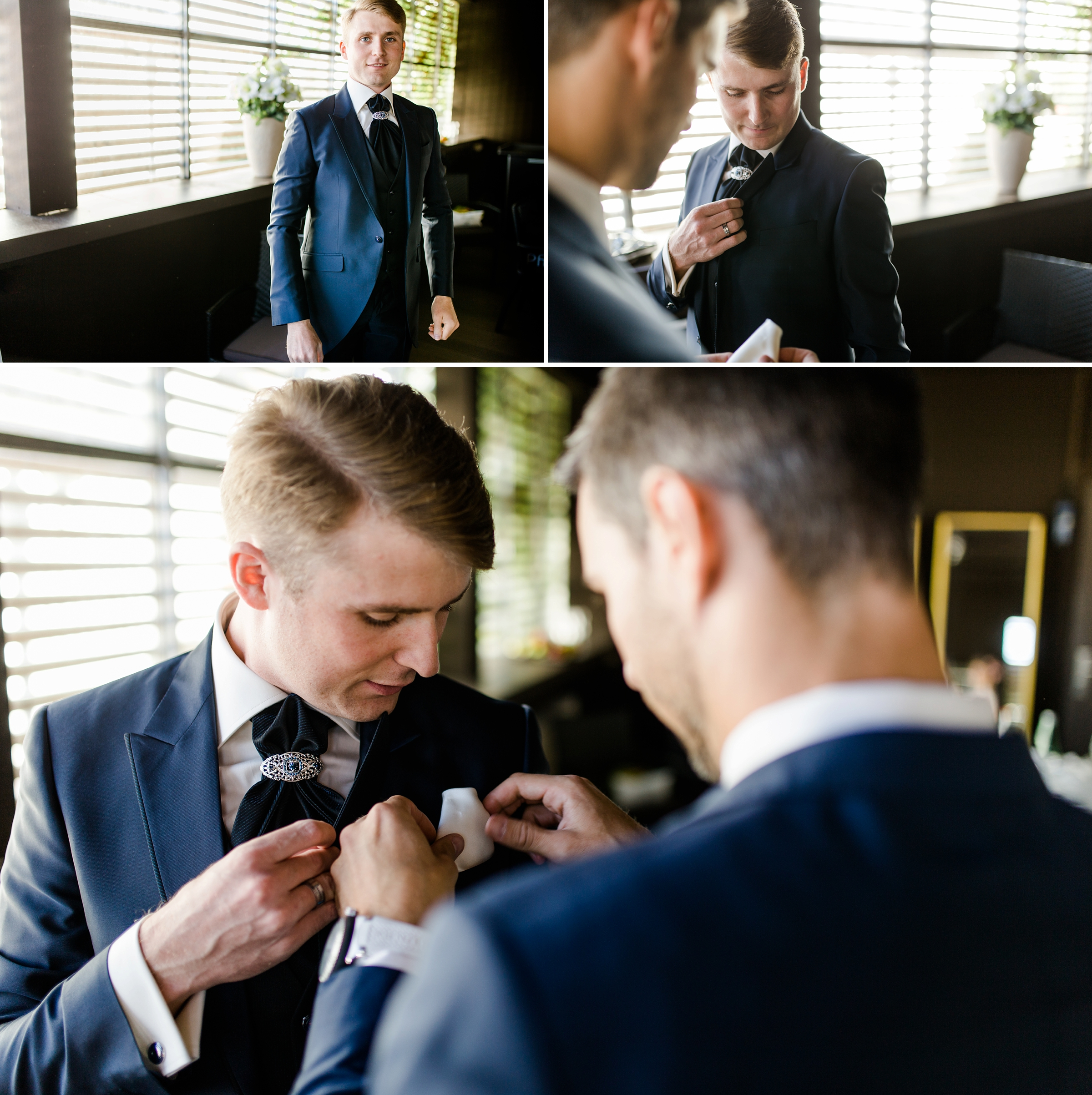 Hochzeitsreportage-Zuerich-Braeutigam-Getting-Ready-Trauzeuge-hilft-Giardino-Verde-Uitikon