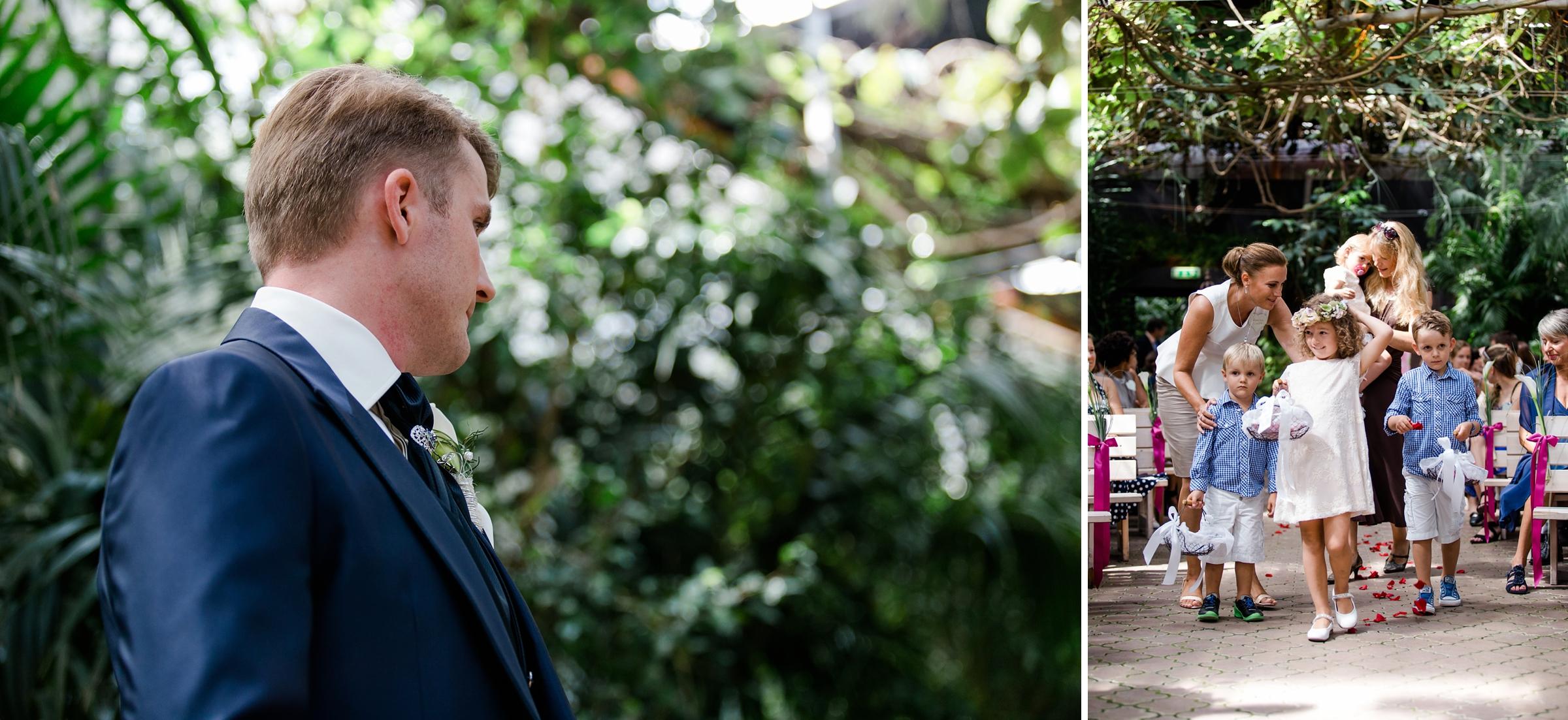 Hochzeitsreportage-Zuerich-Braeutigam-wartet-Blumenkinder-Giardino-Verde-Uitikon
