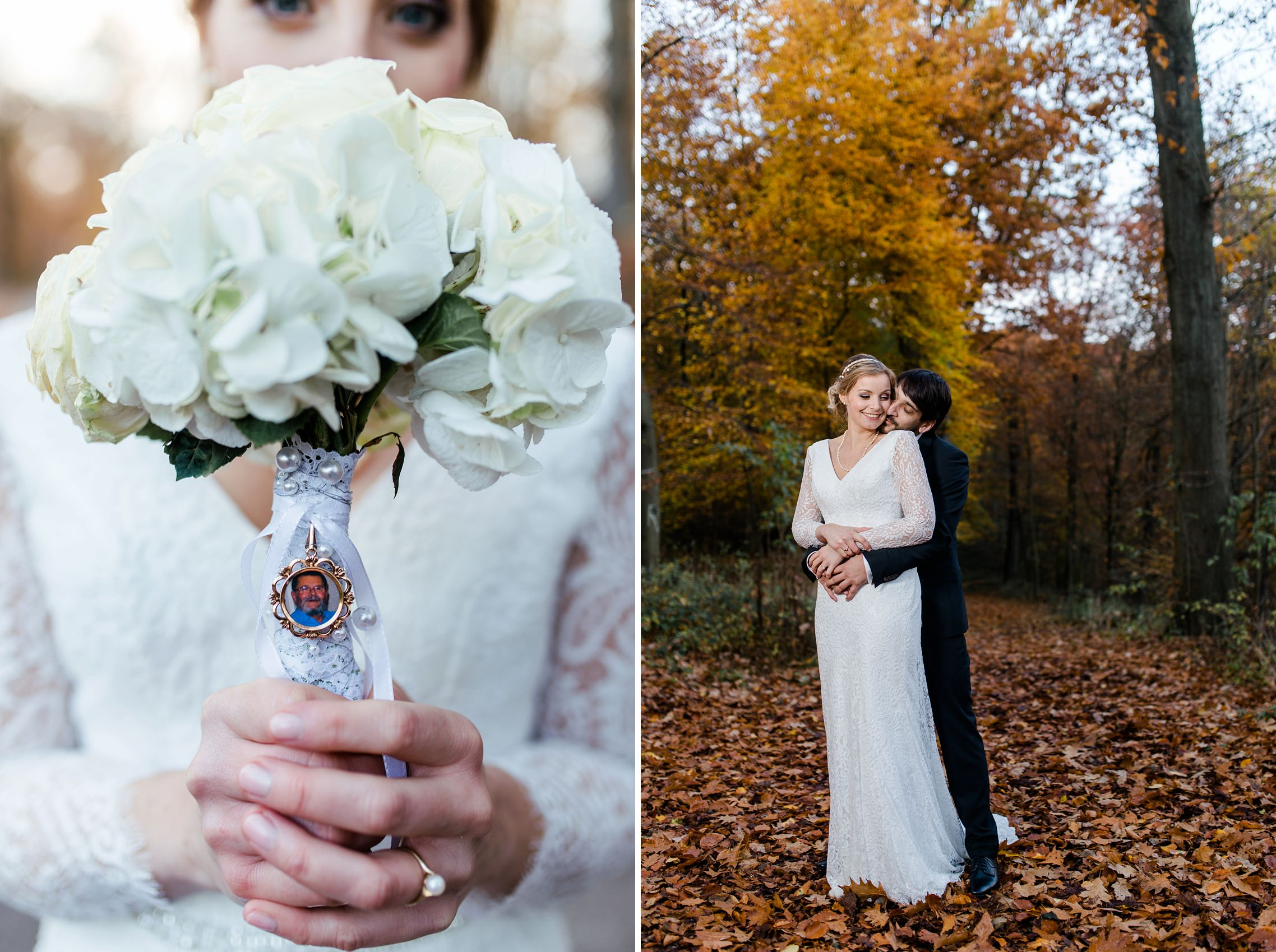 Der Vater der Braut, welcher die Hochzeit leider nicht mehr miterleben konnte, ist den ganzen Tag in der Nähe in Form eines kleinen Bildes am Brautstrauss