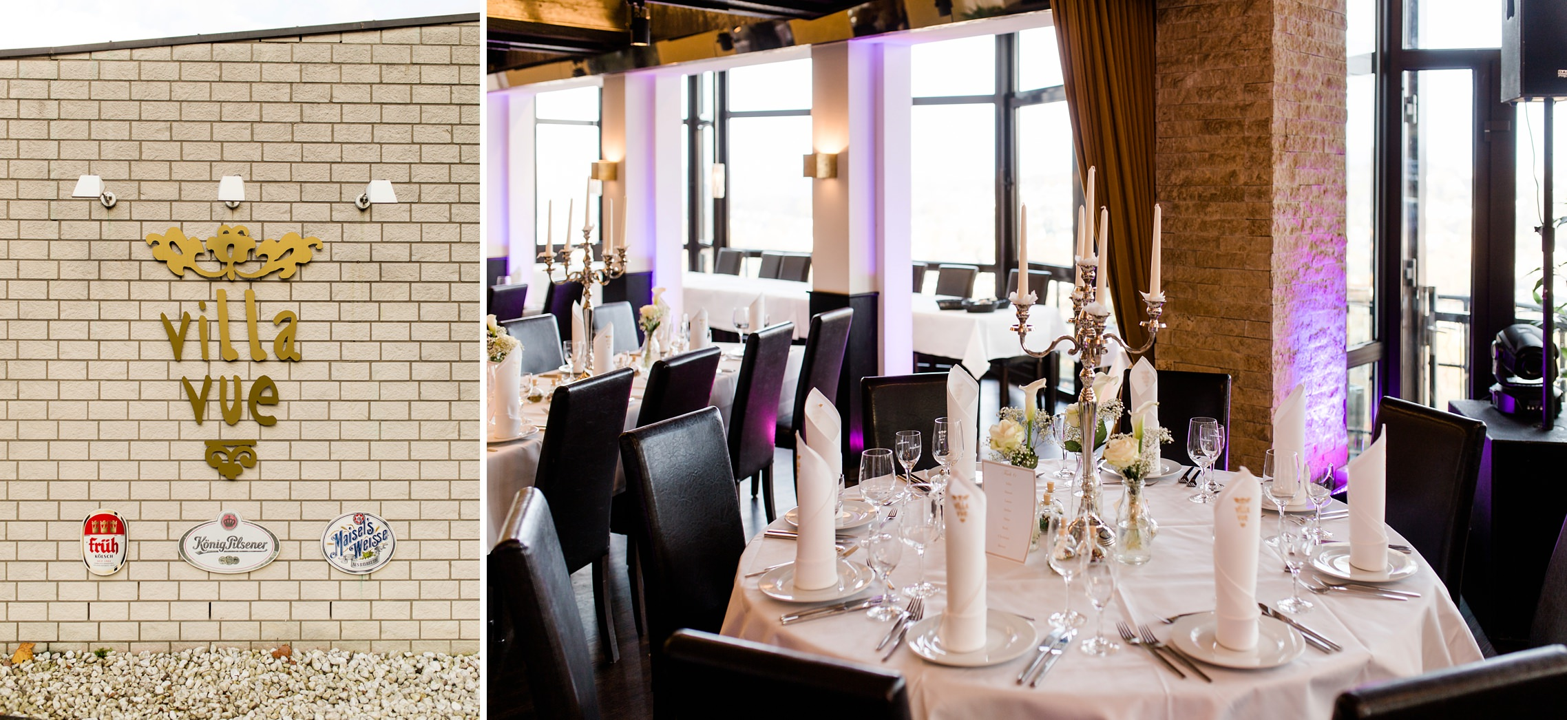 Die Villa Vue in Essen ist für die Hochzeitsfeier hergerichtet und die Tische festlich gedeckt
