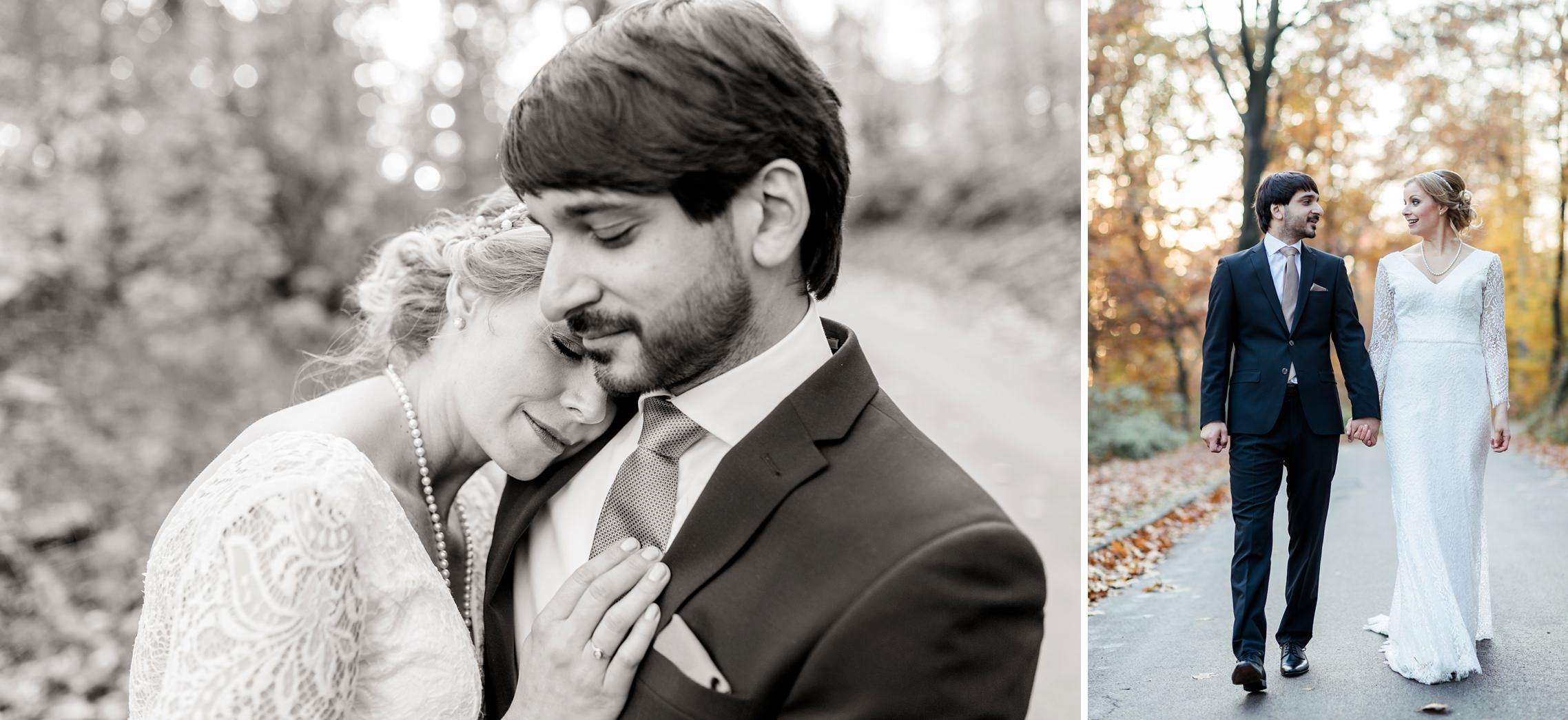 Romantisches Brautpaar Shooting in schwarzweiss im Wald