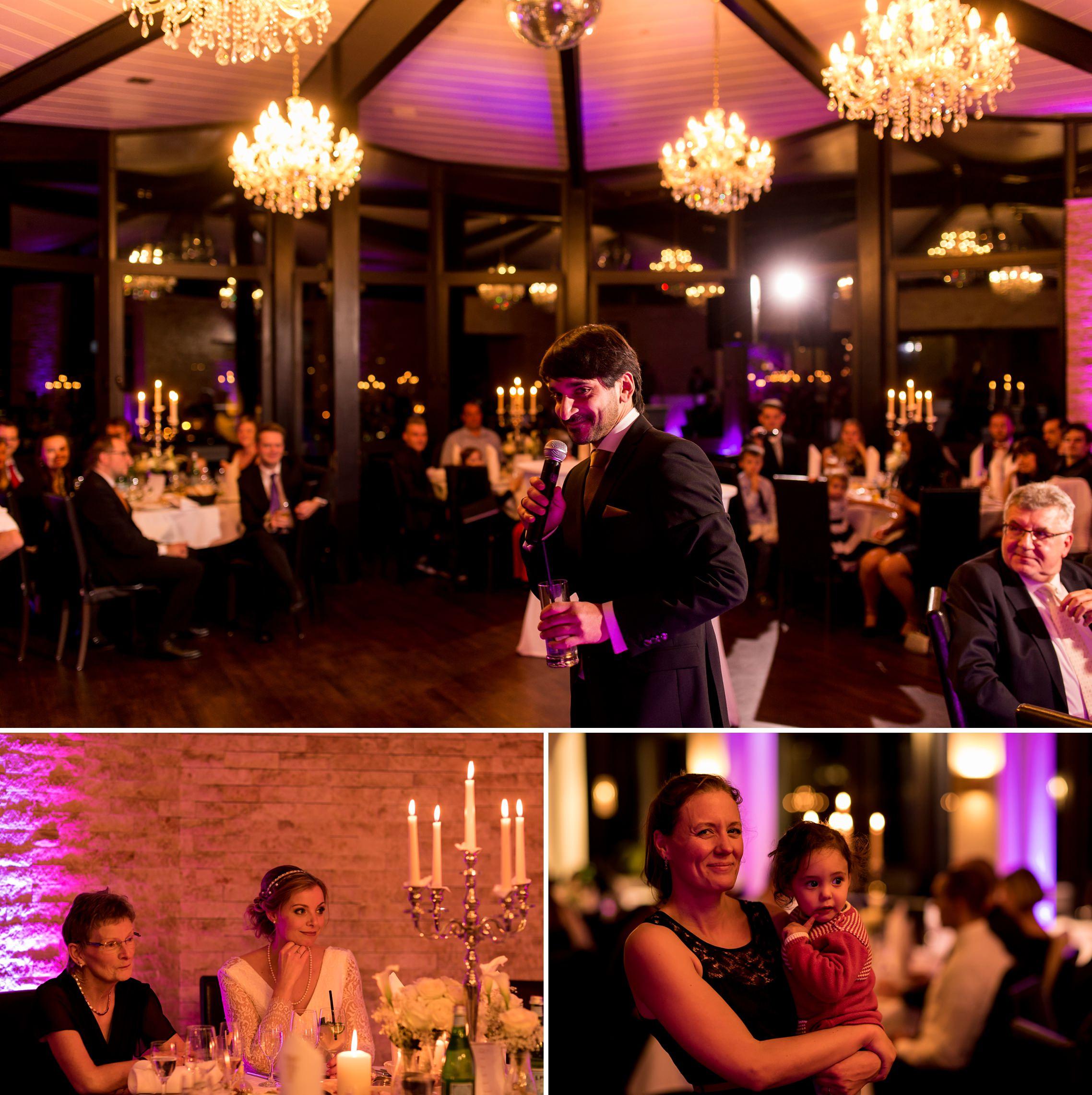 Festliche Lichterstimmung in der Villa Vue während der Rede des Bräutigams