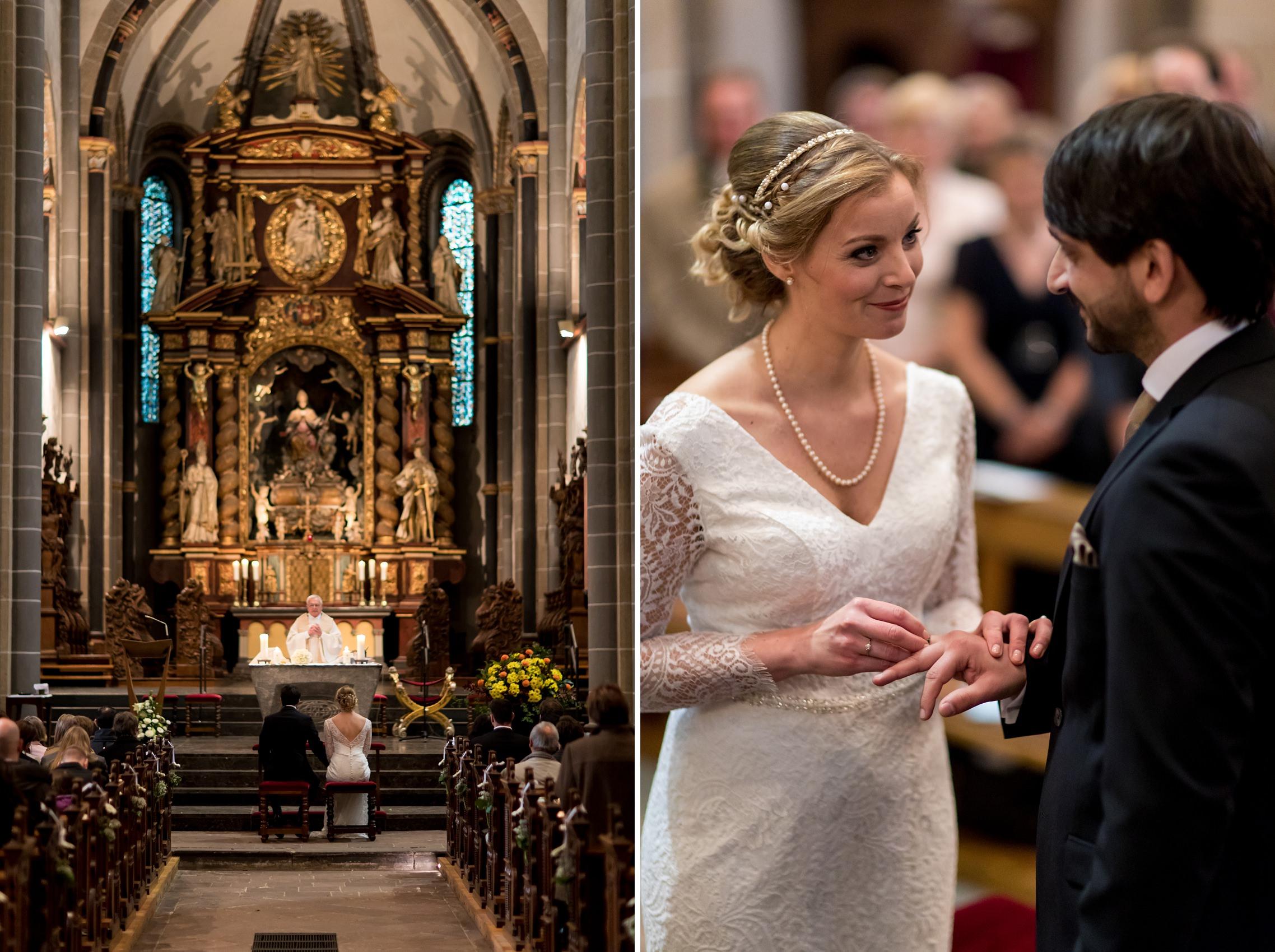 Ringetausch des Hochzeitspaares in der Basilika in Werden