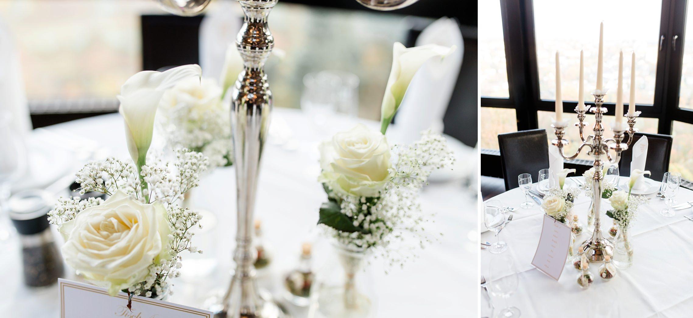 Tischdeko und Leuchter bei der Hochzeitsfeier in der Villa Vue in Essen