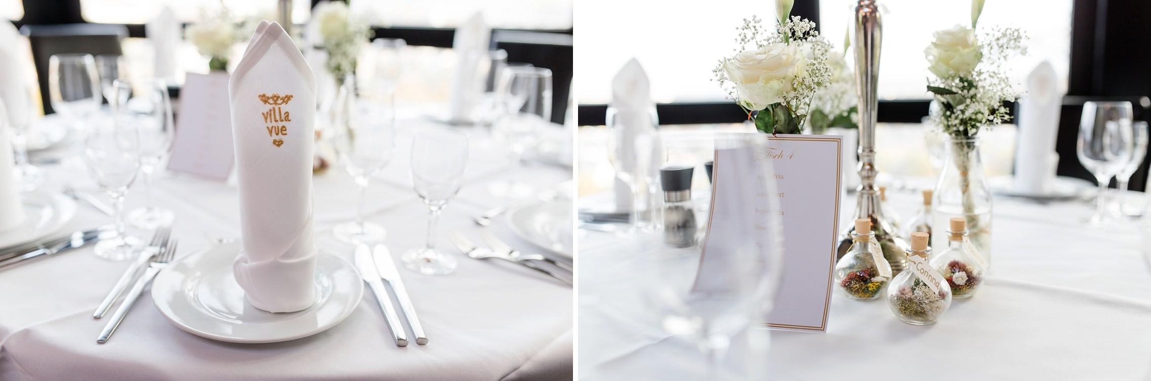 Tischgedecke und Servietten für die Hochzeitsfeier in der Villa Vue in Essen