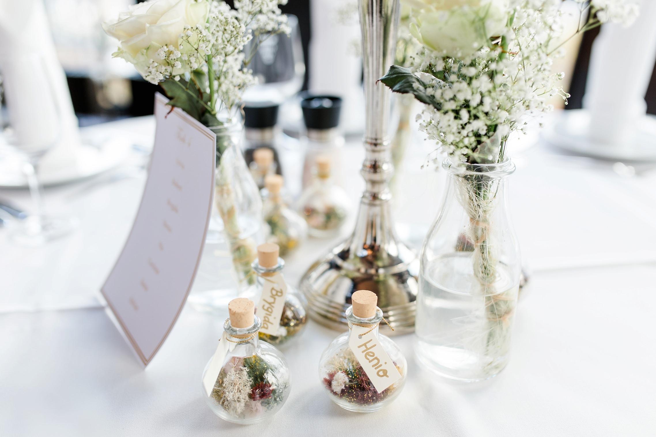 Tischdeko für die Hochzeitsfeier in der Villa Vue in Essen
