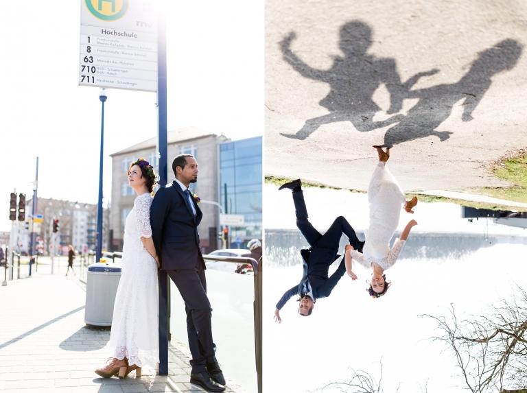 Ausgefallene Hochzeitsfotos - um 180 Grad gedrehtes Hochzeitspaar mit Schattenwurf