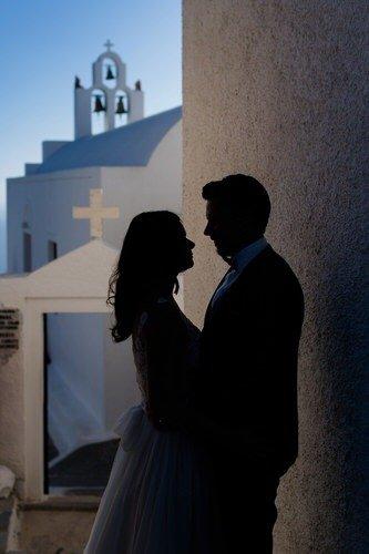 Silhouette Brautpaar auf Santorini