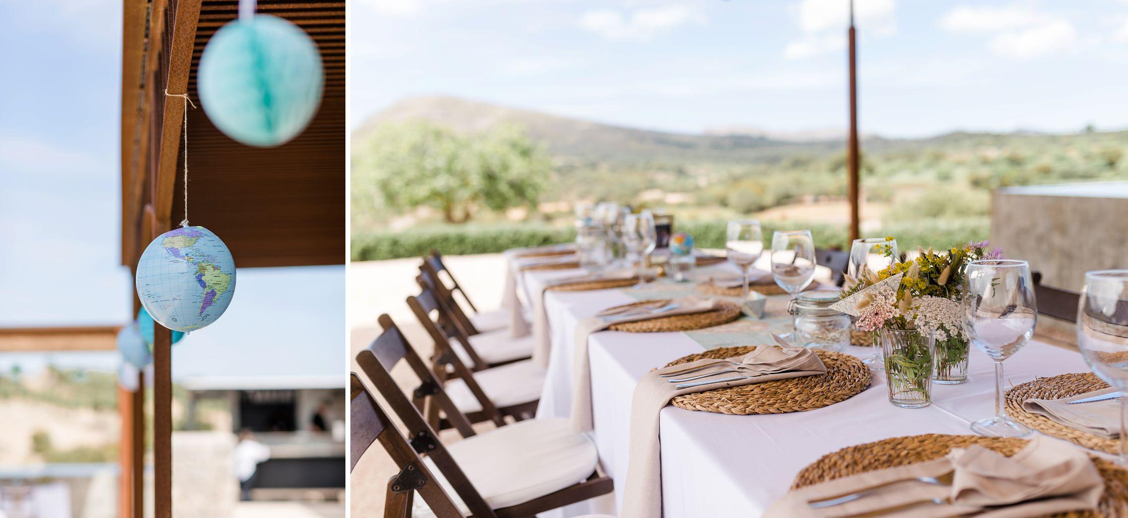 Tischdeko auf der Finca-Hochzeit auf Mallorca