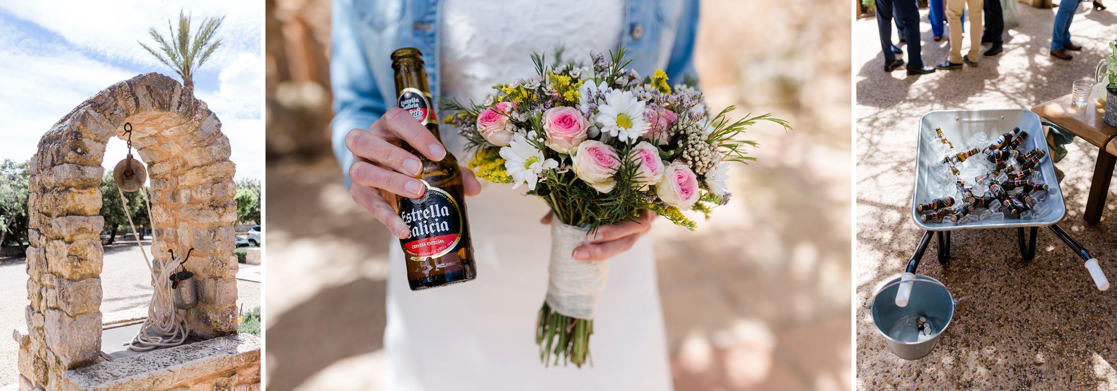 Lustiges Foto des Brautstraußes mit einer Bierflasche