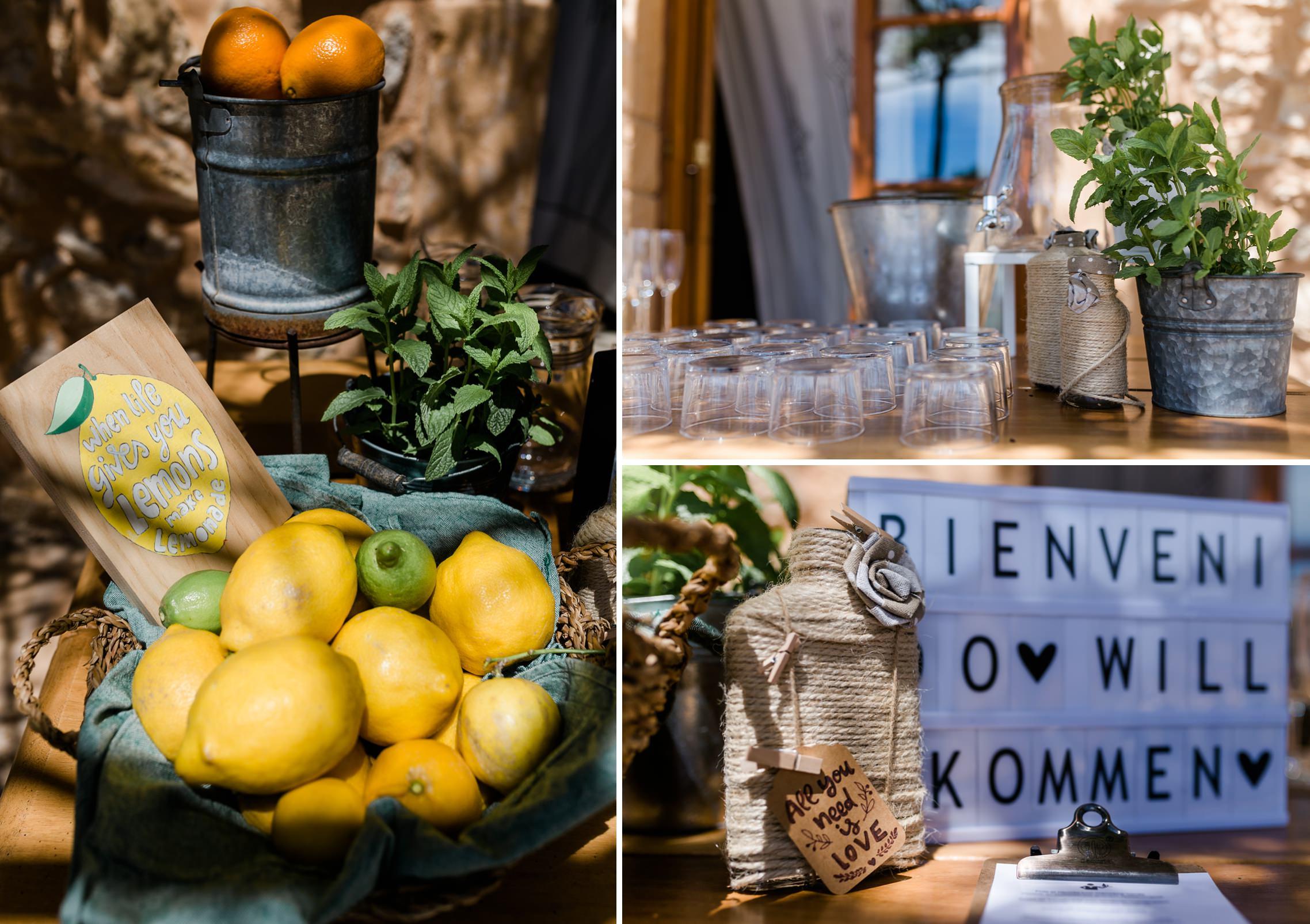 Englische Inschrift auf einem Schild in einem Korb mit Zitronen: Wenn das Leben Dir Zitronen gibt, mach Limonade!