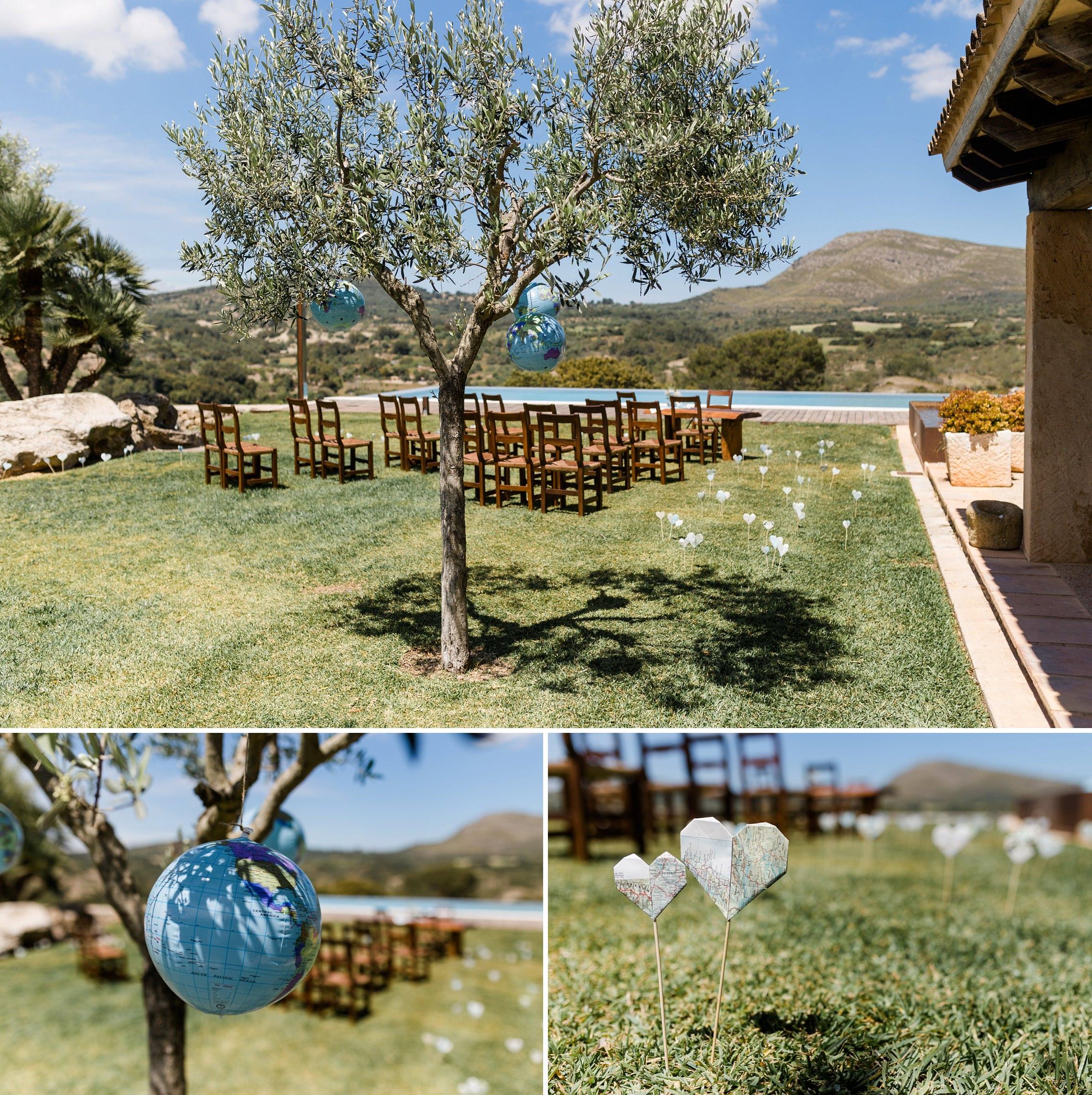 Deko-Details mit Landkarten-Muster auf der Finca-Hochzeit