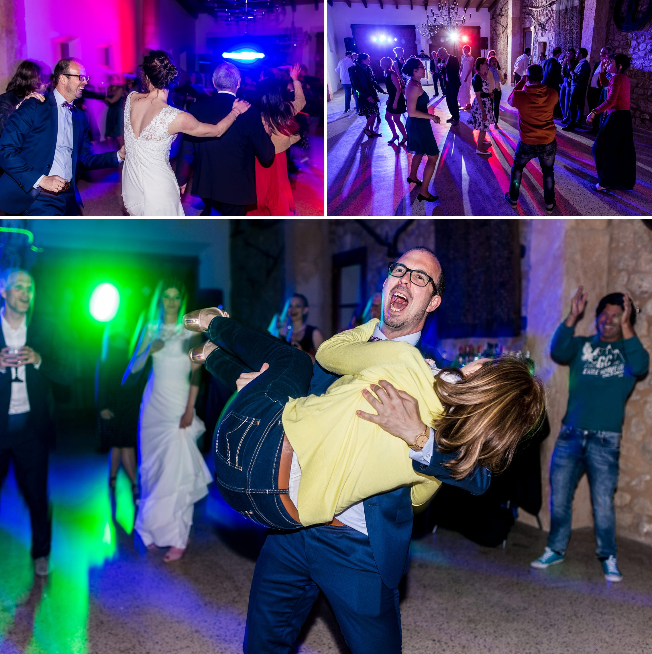 Feiernde Hochzeitsgäste - der Bräutigam wirbelt seine Mutter durch die Luft.