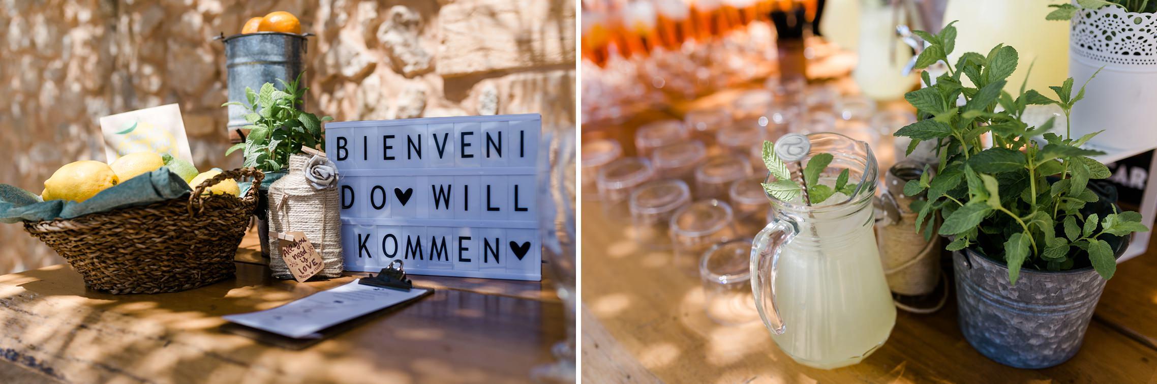 Liebevolle Deko-Details beim Empfang des Brautpaares auf der Finca-Hochzeit