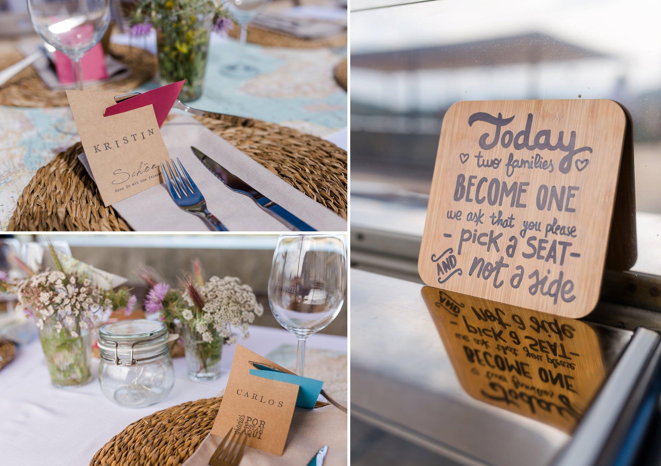 Platzkarten auf der Finca-Hochzeit