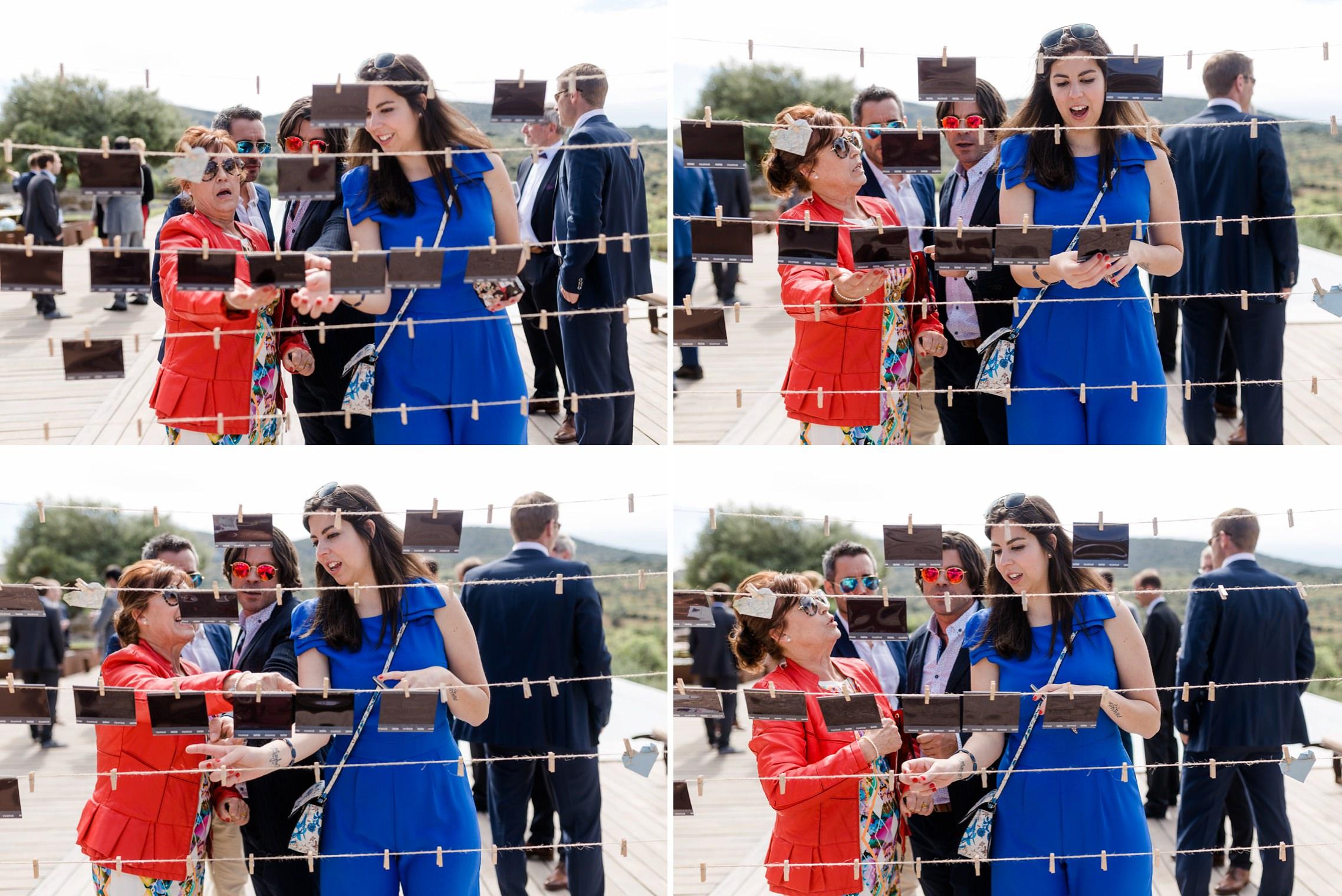 Lustige Bildserie: Gäste diskutieren über den richtigen Platz für ein Polaroid-Foto