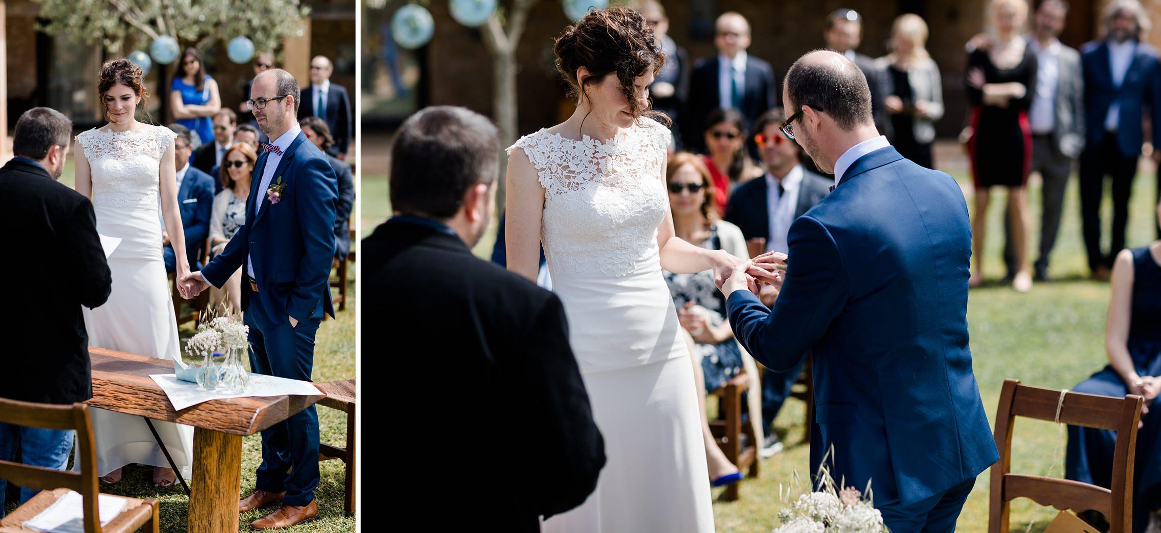 Ringetausch des Brautpaares auf der Finca-Hochzeit auf Mallorca