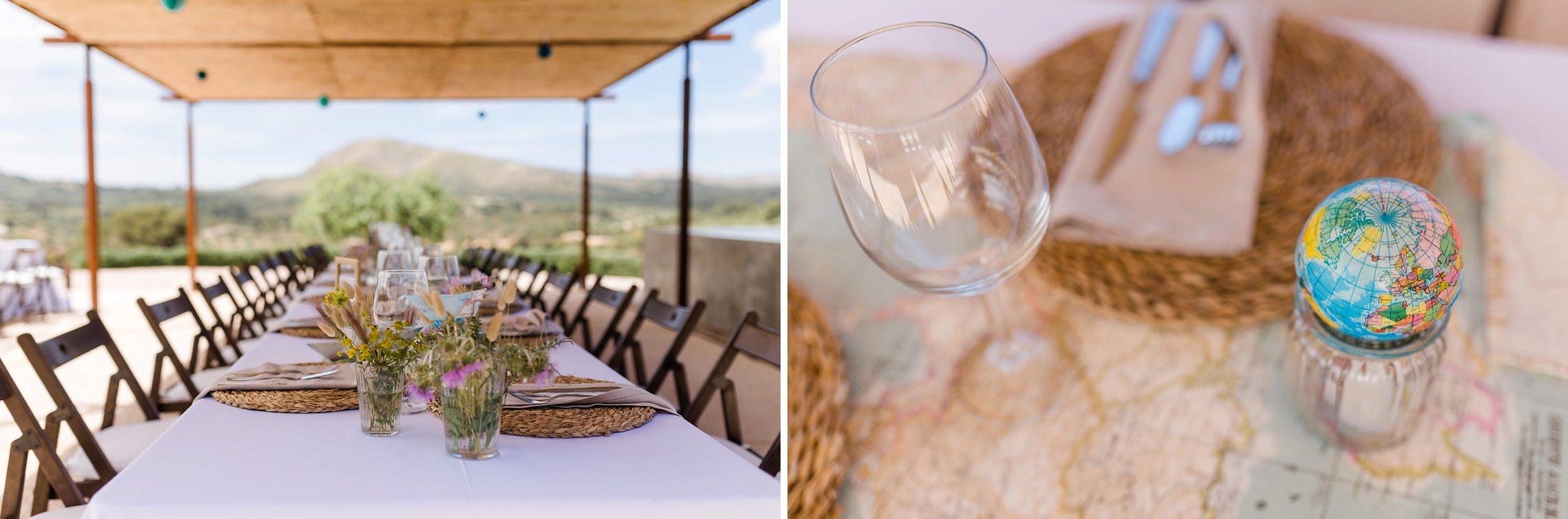 Tischdeko mit einem Mini-Globus auf der Finca-Hochzeit auf Mallorca