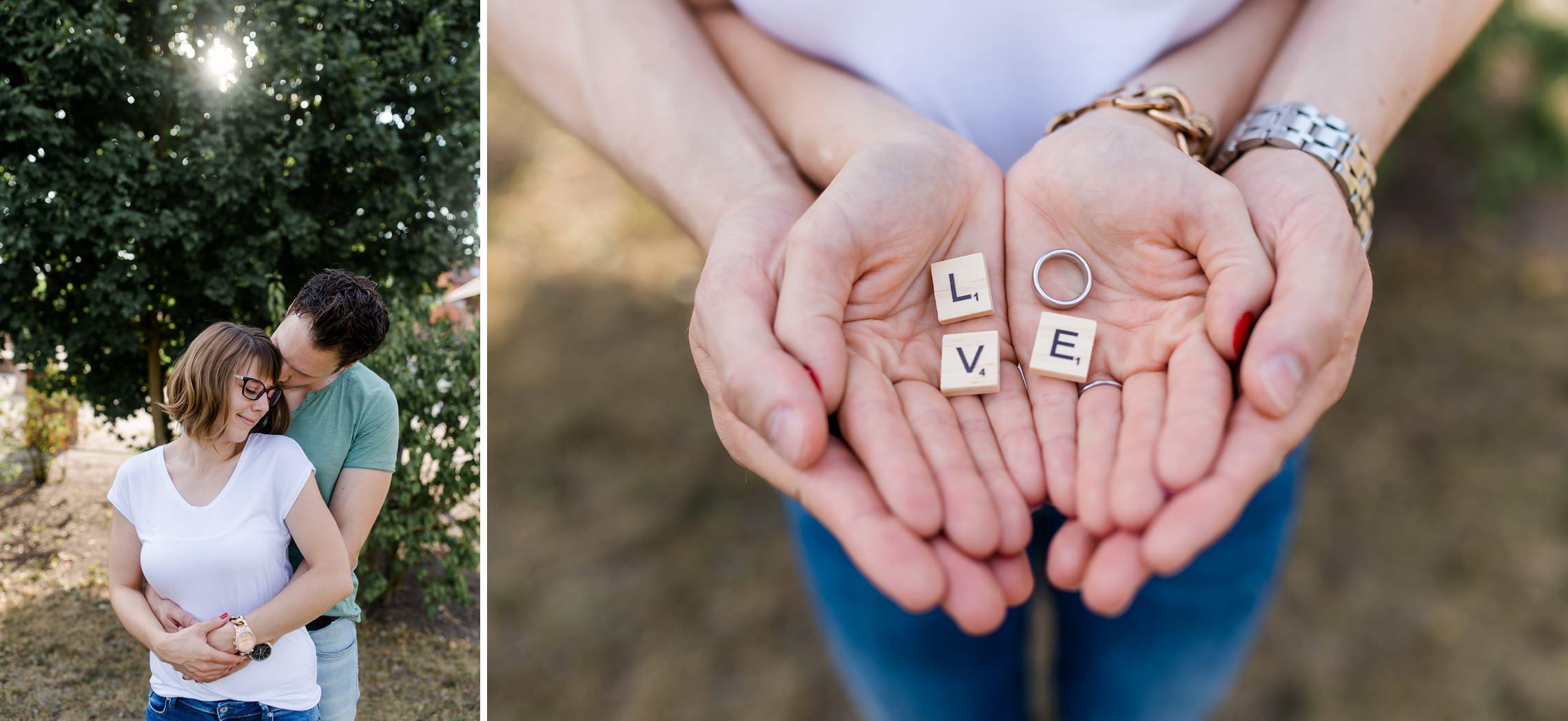 """Romantische Pärchenfotos im Gegenlicht mit Scrabble-Buchstaben, welche """"Love"""" bilden"""