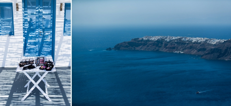 Der Schminktisch beim Getting Ready und ein Blick auf den westlichen Zipfel von Santorini