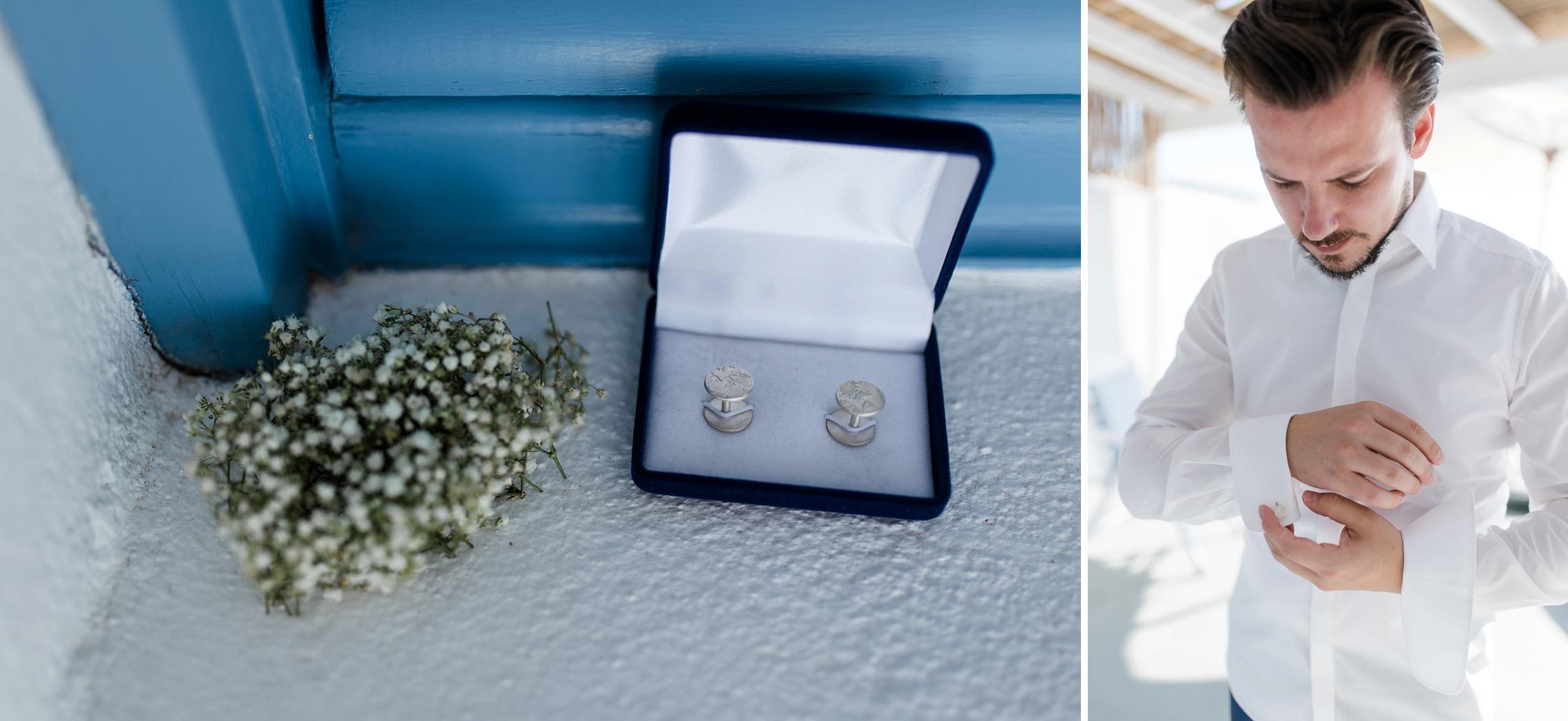 Die Manschettenknöpfe des Bräutigams beim After-Wedding-Shooting auf Santorini