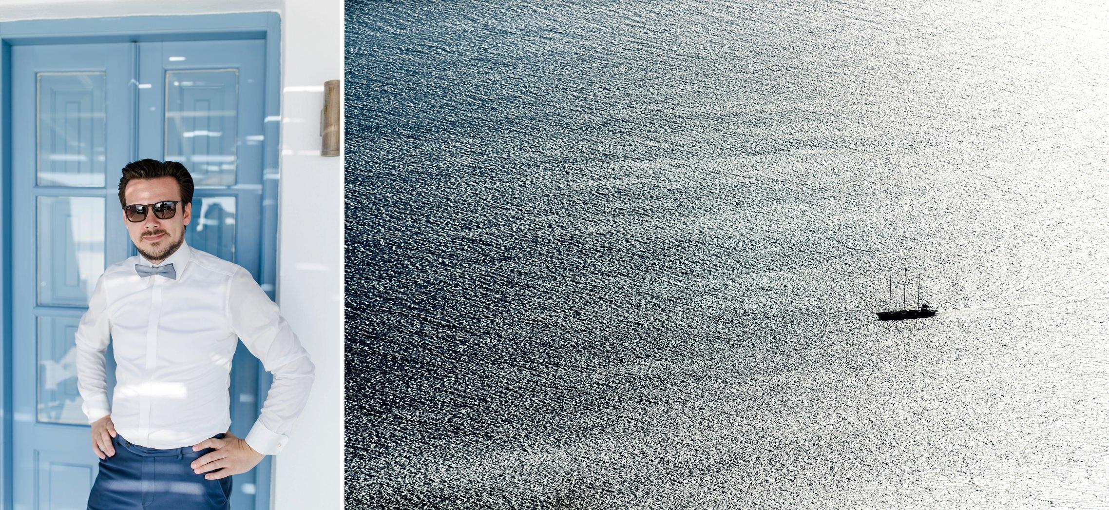 Cooler Bräutigam im Schatten vor dem After-Wedding-Shooting, dazu ein großes Segelschiff, welches im Gegenlicht auf dem Meer fährt.