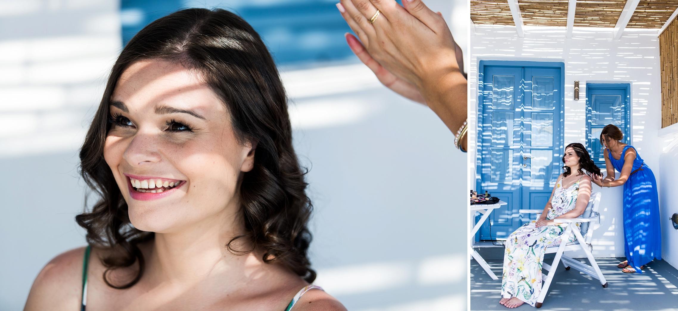 After-Wedding Santorini: Der Braut werden die Haare gemacht.