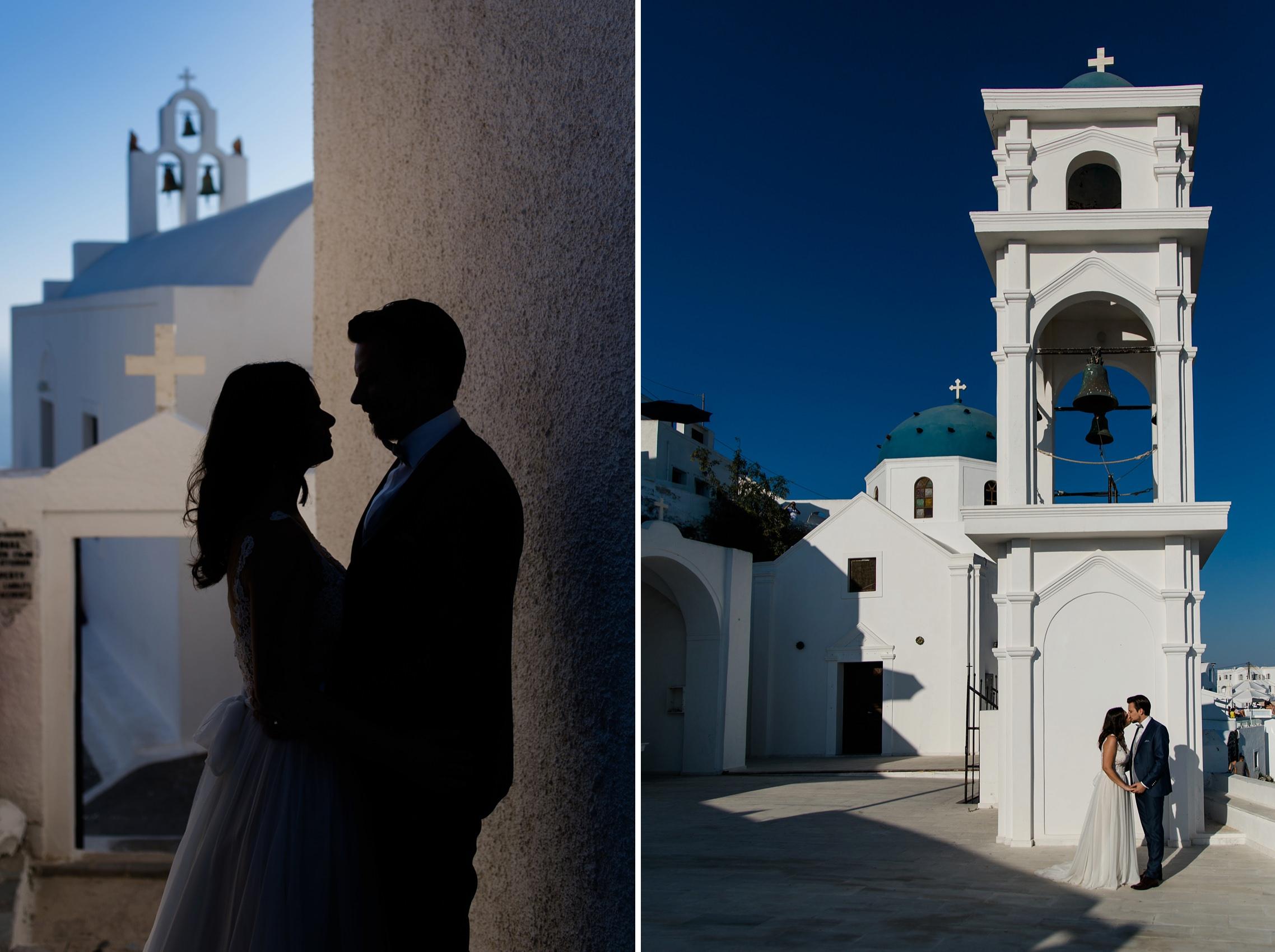 After-Wedding-Shooting Santorini: Ein romantisches Brautpaar - einmal als Silhouette - vor den malerischen Kulissen von Santorini mit den typischen weiß-blauen Farben