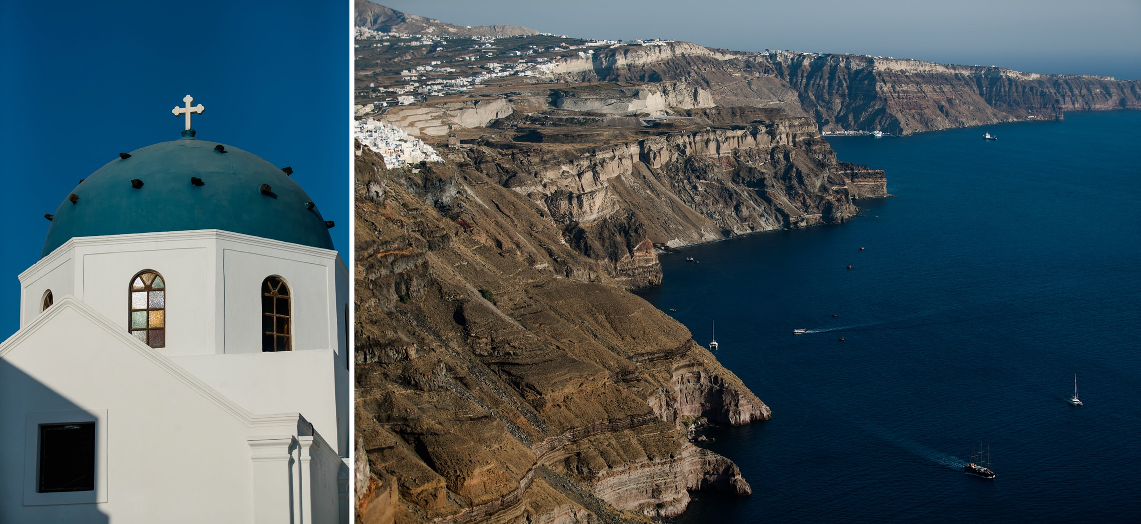 Steilküste von Santorini und typische blaue Kirchenkuppel.