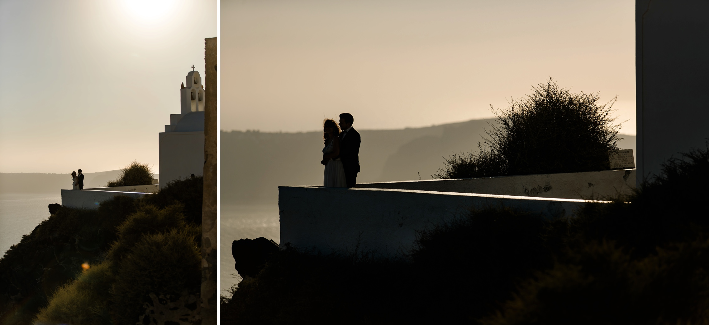 Hochzeitspaar steht als Silhouette vor einer Kapelle auf Santorini.