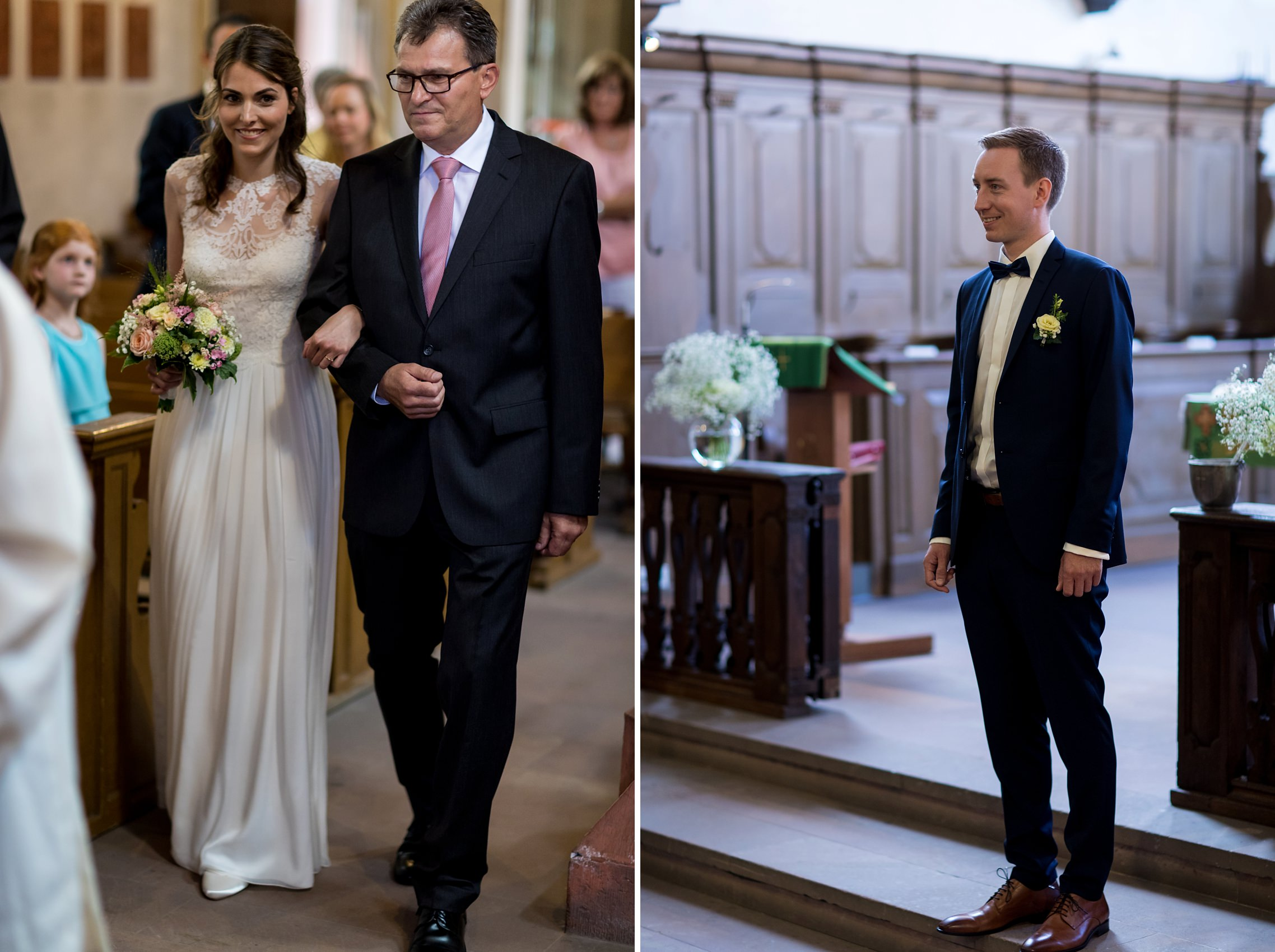 Der Brautvater führt seine Tochter zum Altar. Der Bräutigam wartet in der katholischen Kirche in Erbach auf seine zukünftige Frau.