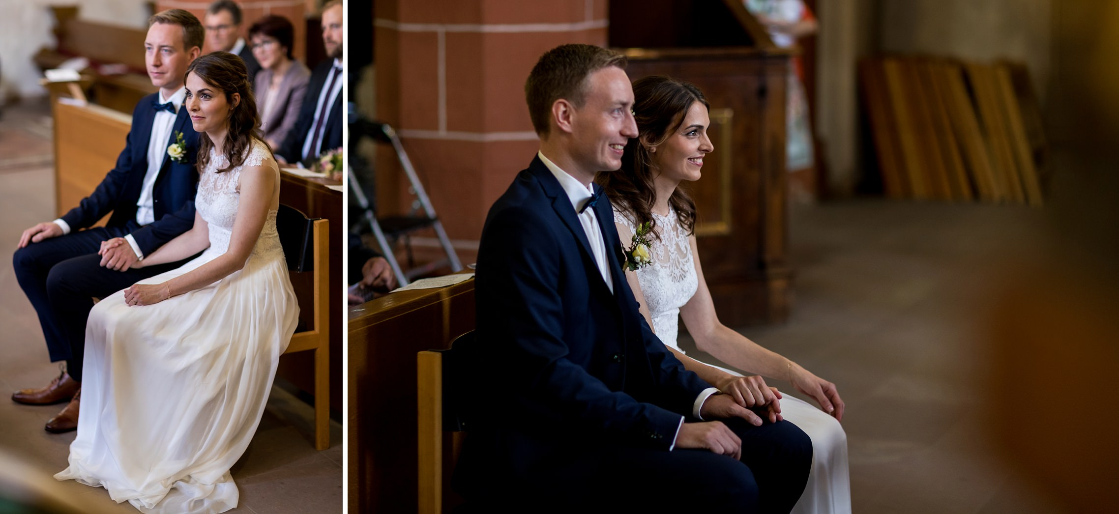 Hochzeitspaar während des Traugottesdienstes.