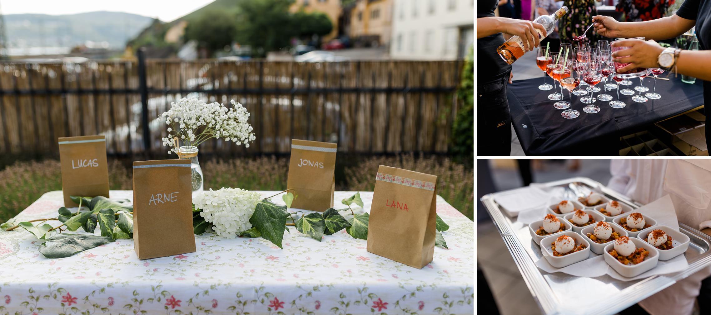 Fingerfood und Geschenketüten für die Kinder auf der Rheingau-Hochzeit im Bahnhof in Rüdesheim.