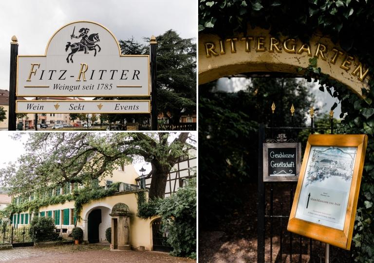 Außenansicht des Weingut Fitz-Ritter in Bad Dürkheim. Im Rittergarten findet an diesem Tag eine Hochzeit statt.