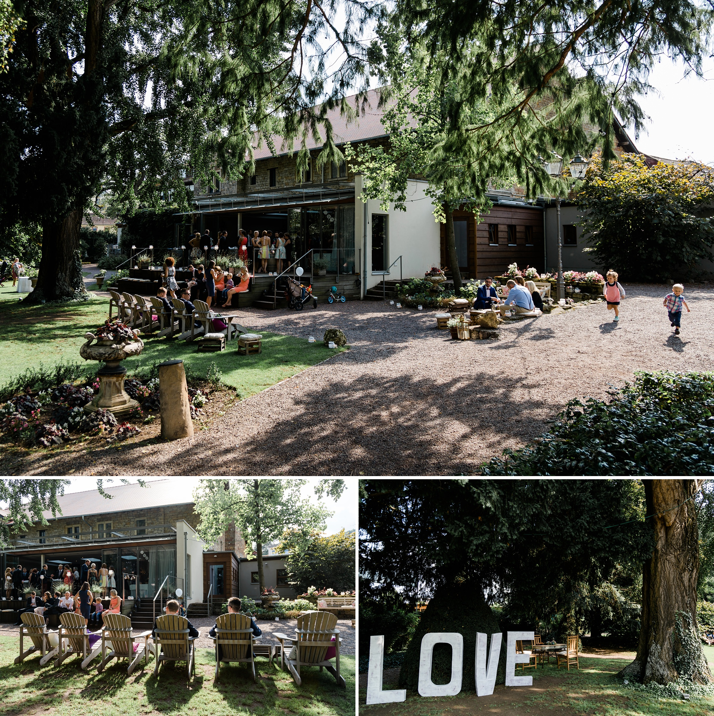 Die Hochzeitsgäste chillen an diesem lauen September-Nachmittag im Garten des Weingut Fitz-Ritter in Bad Dürkheim.