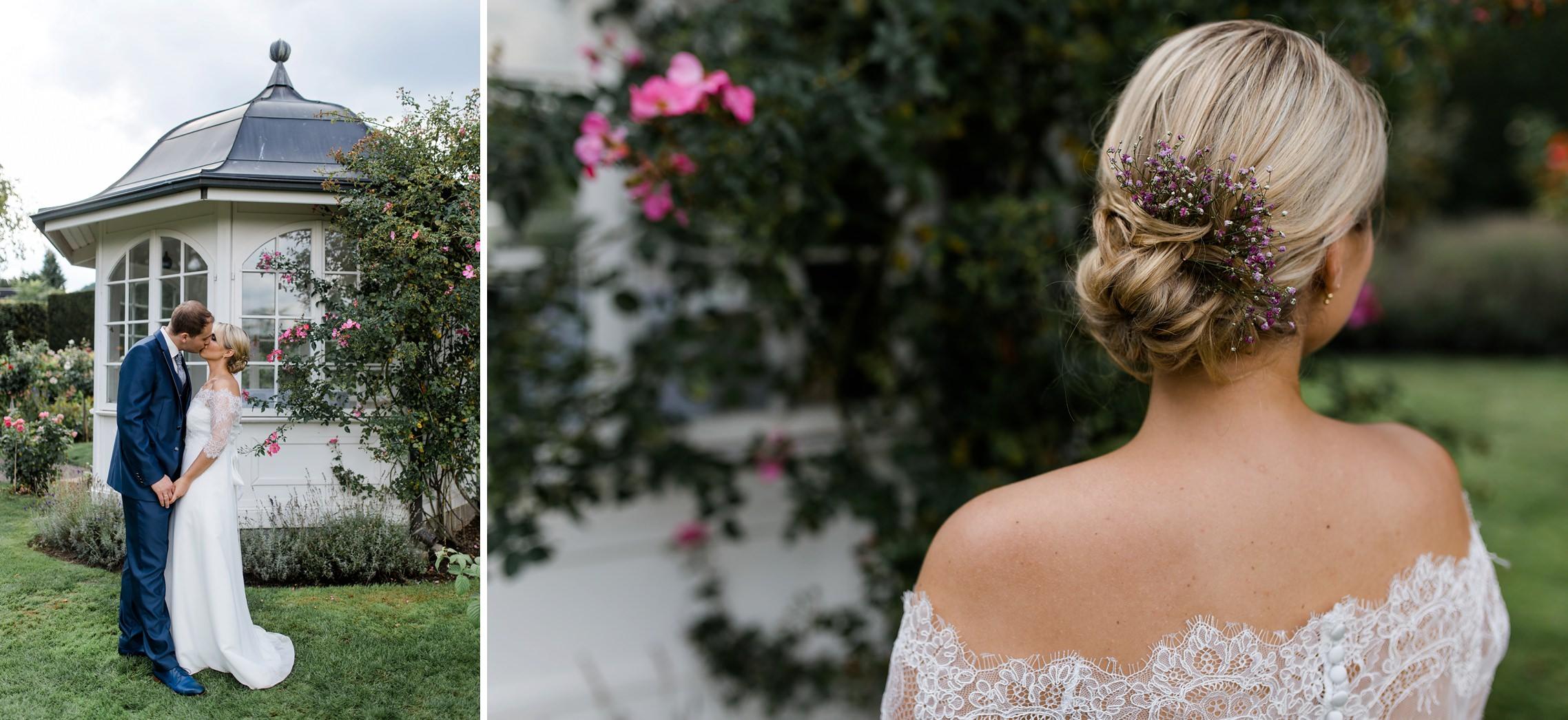 Romantisches Brautpaar-Shooting im Garten des Fitz-Ritter in Bad Dürkheim. Das Paar steht vor dem Pavillion und das andere Bild zeigt die Frisur und das Rückenteil der Braut.