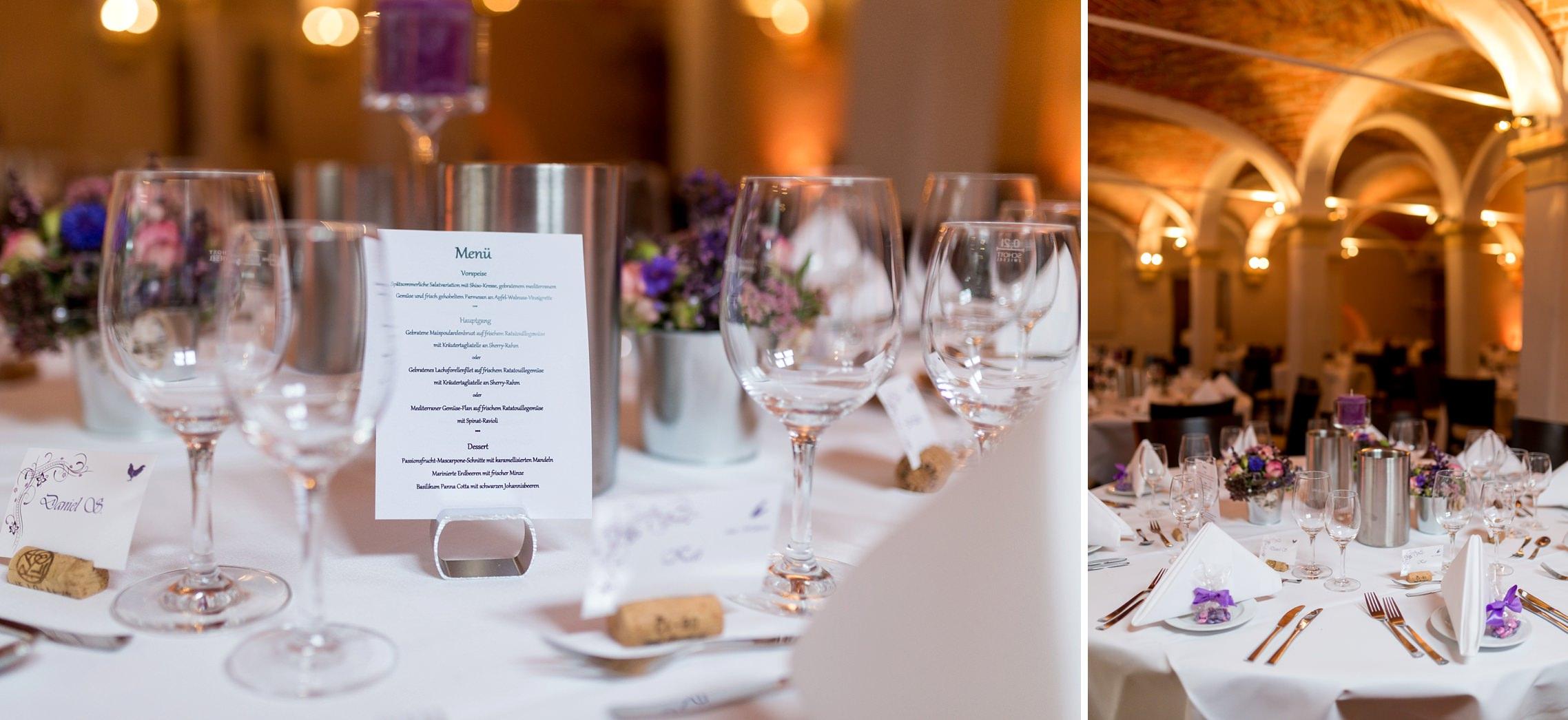 Details der Tischdeko während einer Hochzeitsfeier im Weingut Fitz-Ritter in Bad Dürkheim.