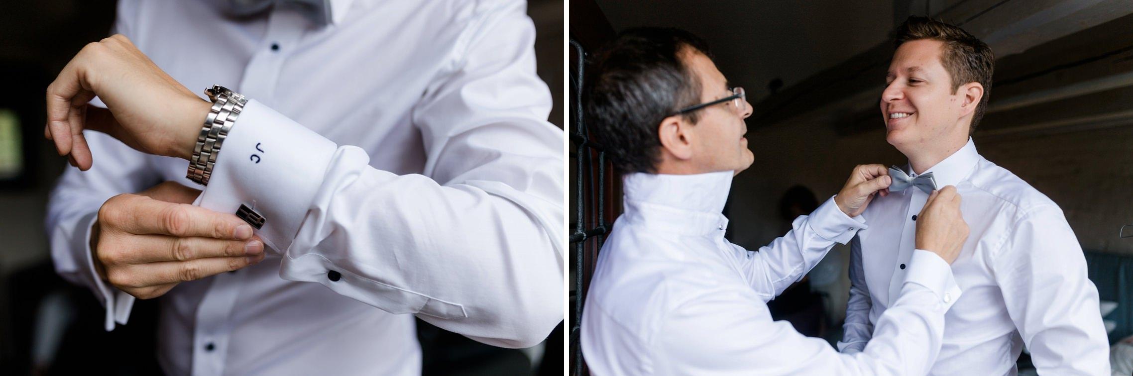 Der Bräutigam legt seine Manschettenknöpfe an und sein Vater hilft ihm mit der Fliege.