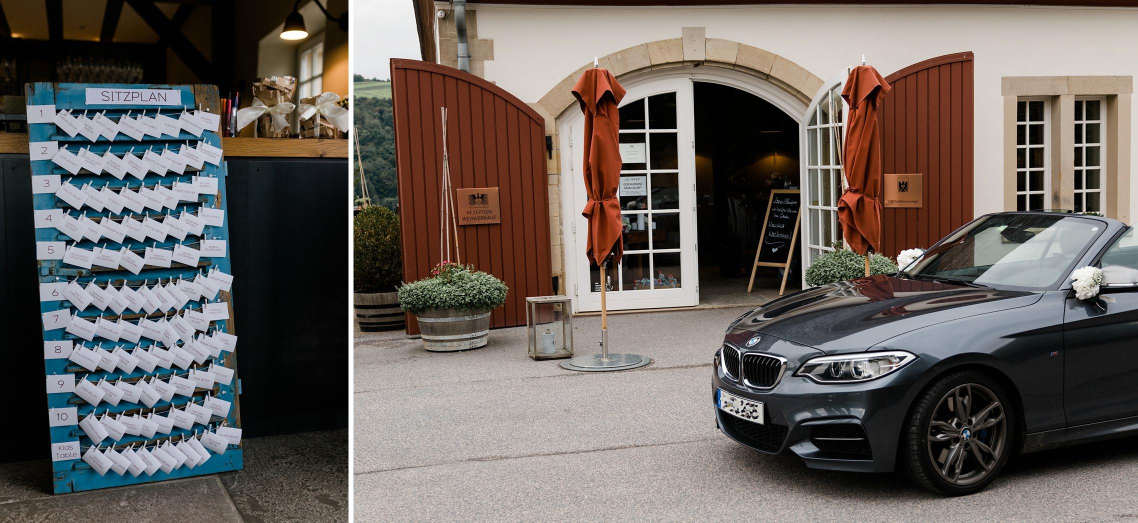 Eingangsbereich zum Gut Hermannsberg und der Sitzplan für die Hochzeitsgäste.