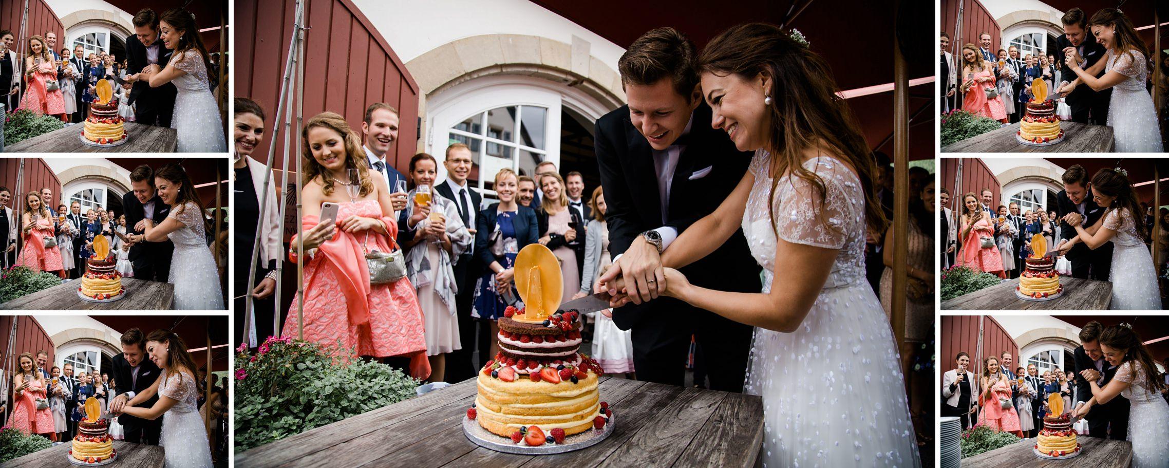 Lustige Bildfolge vom Anschneiden der Hochzeitstorte auf dem Gut Hermannsberg.