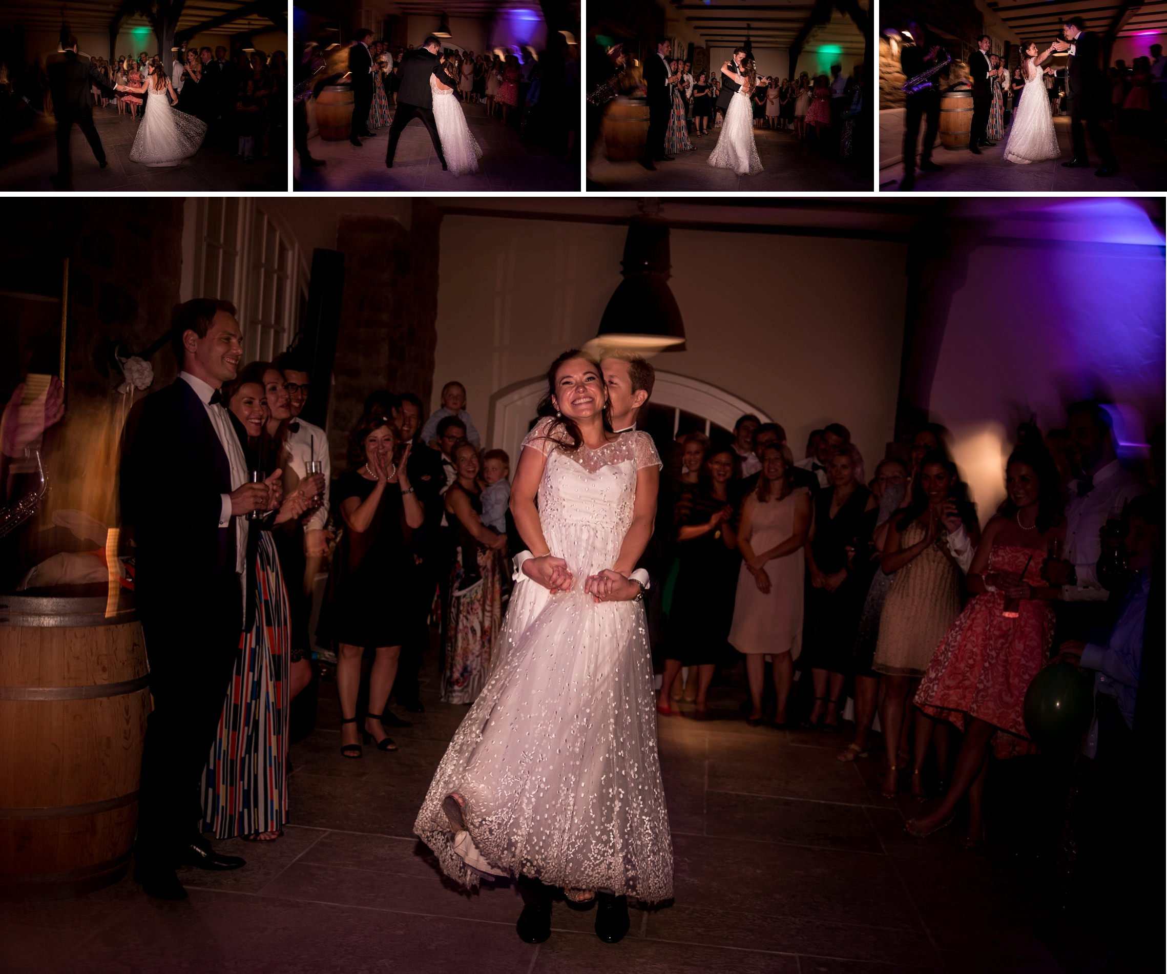 Bildfolge vom Eröffnungstanz des Brautpaares.