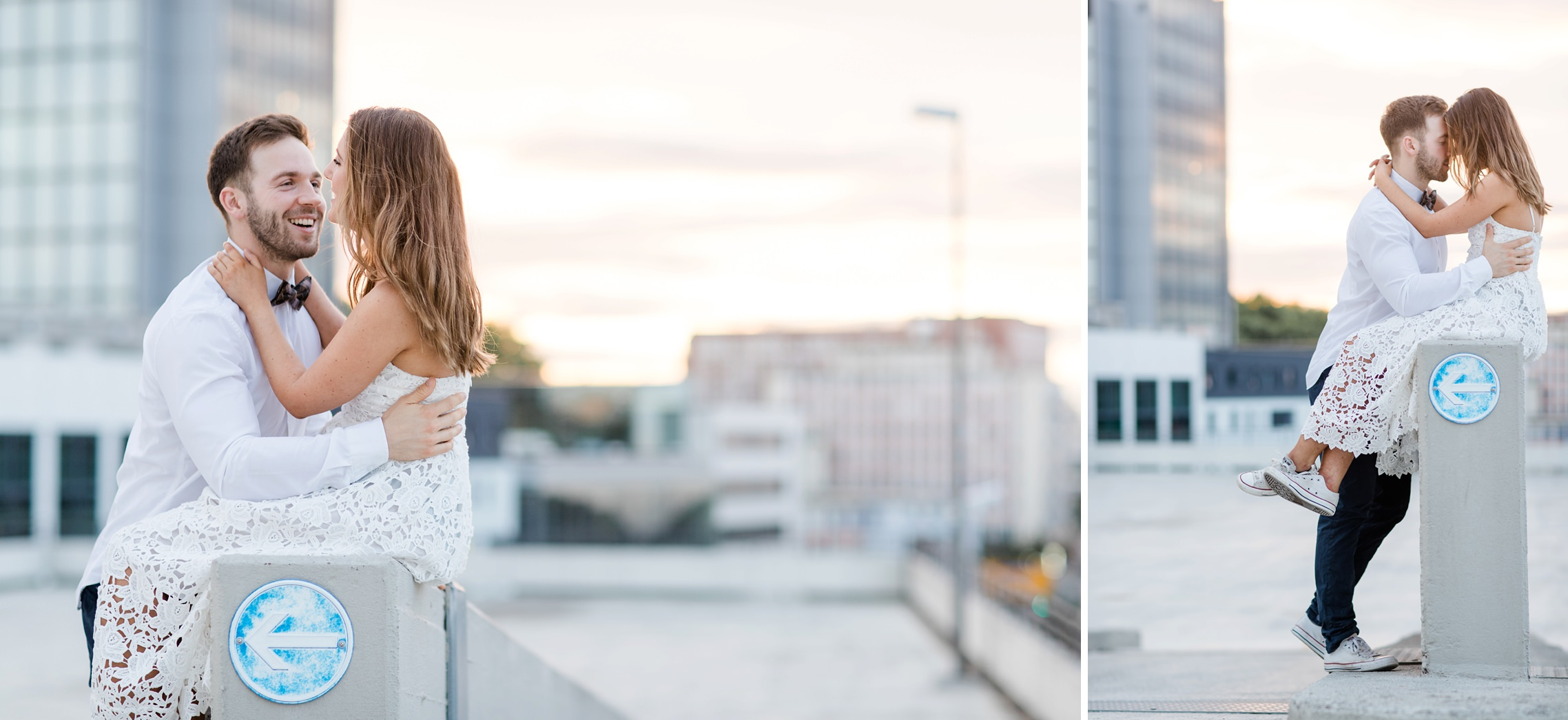 Romantisches Paar-Shooting Sonnenuntergang Parkdeck Ludwigshafen
