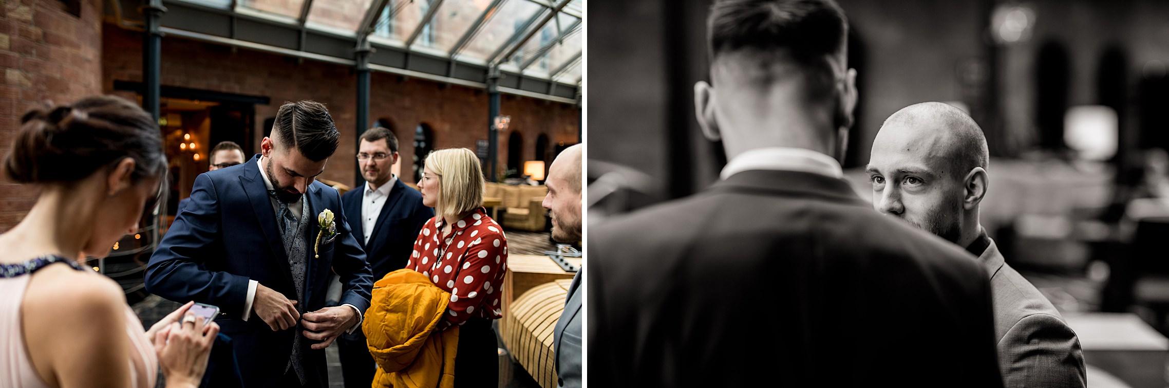 Bräutigam kurz vor Trauzeremonie im Hyatt Regency Mainz