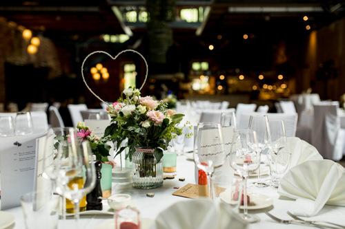 Tischdeko bei Hochzeitsreportage im Grenzhof Heidelberg